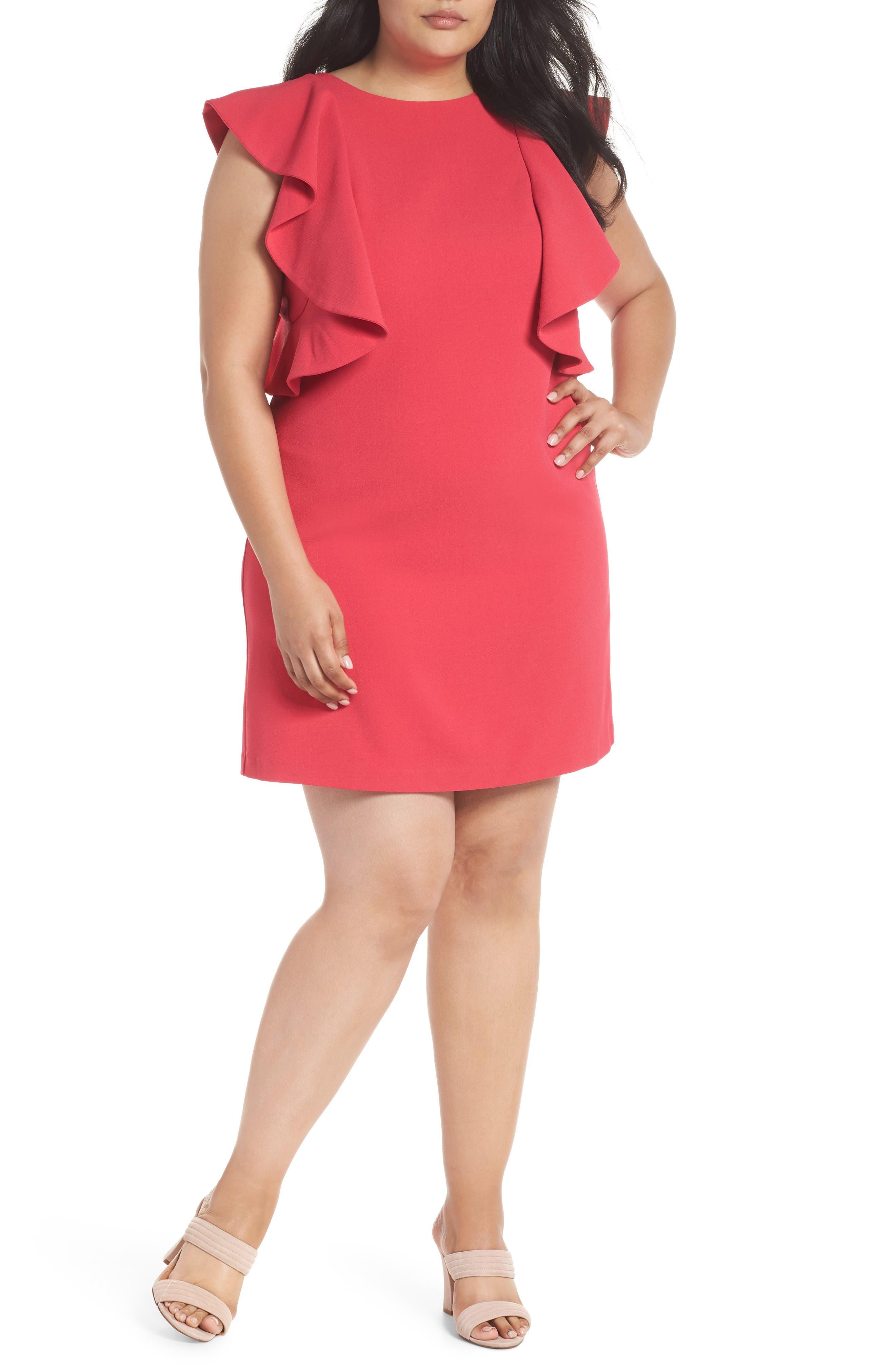 Flutter Sleeve Shift Dress,                         Main,                         color, Pink Rose