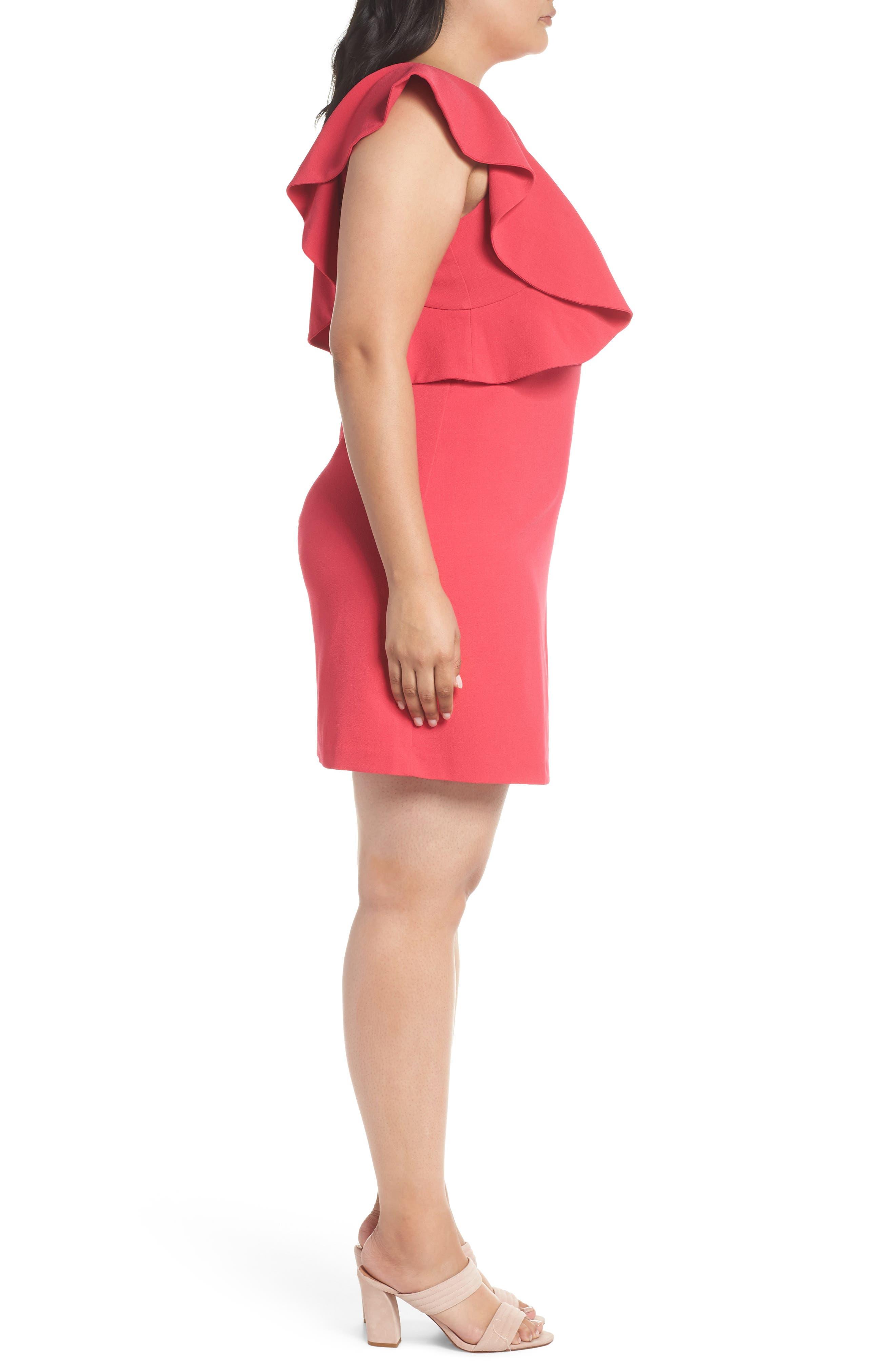 Flutter Sleeve Shift Dress,                             Alternate thumbnail 3, color,                             Pink Rose
