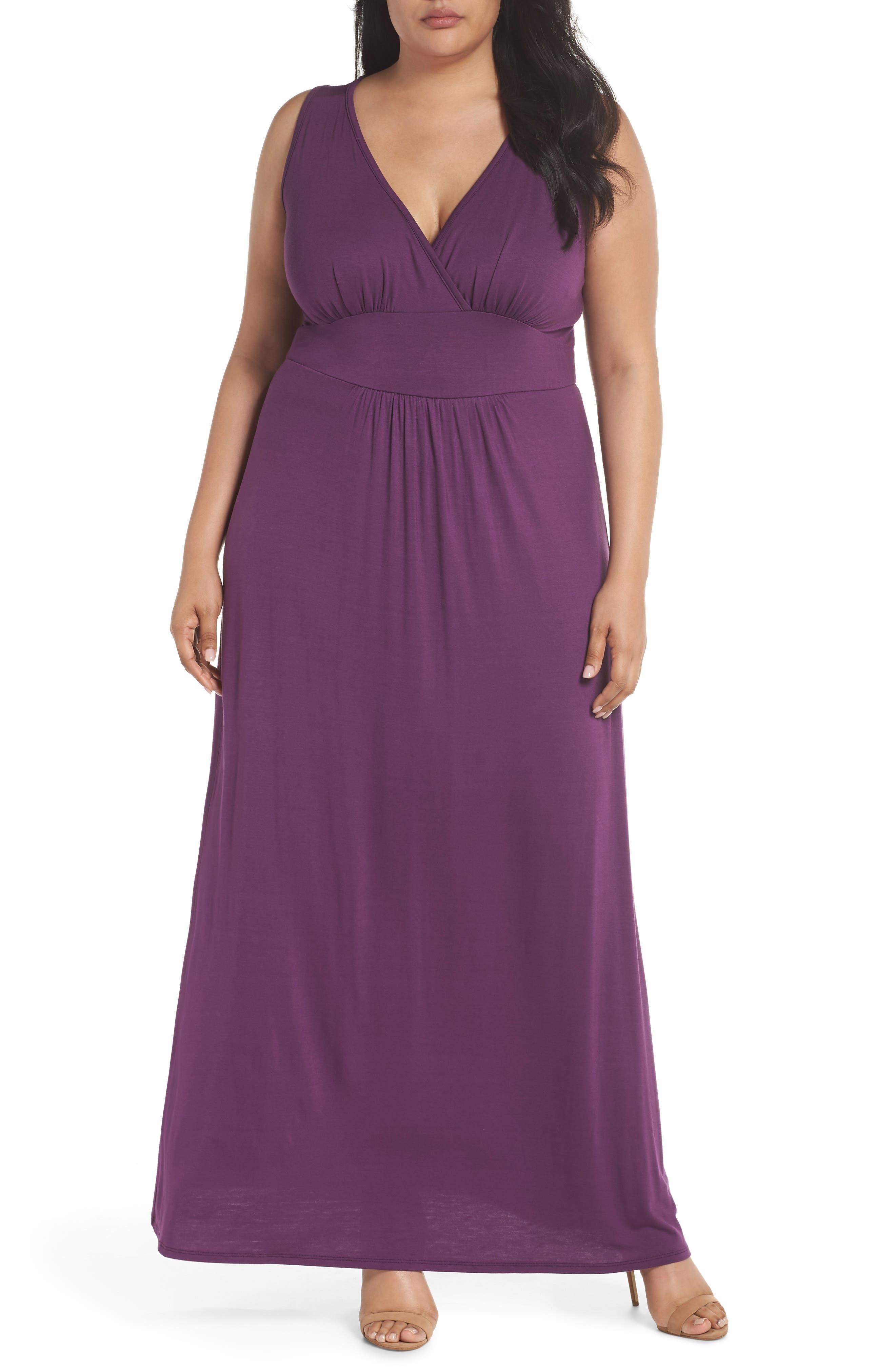 Surplice Maxi Dress,                         Main,                         color, Purple Dark
