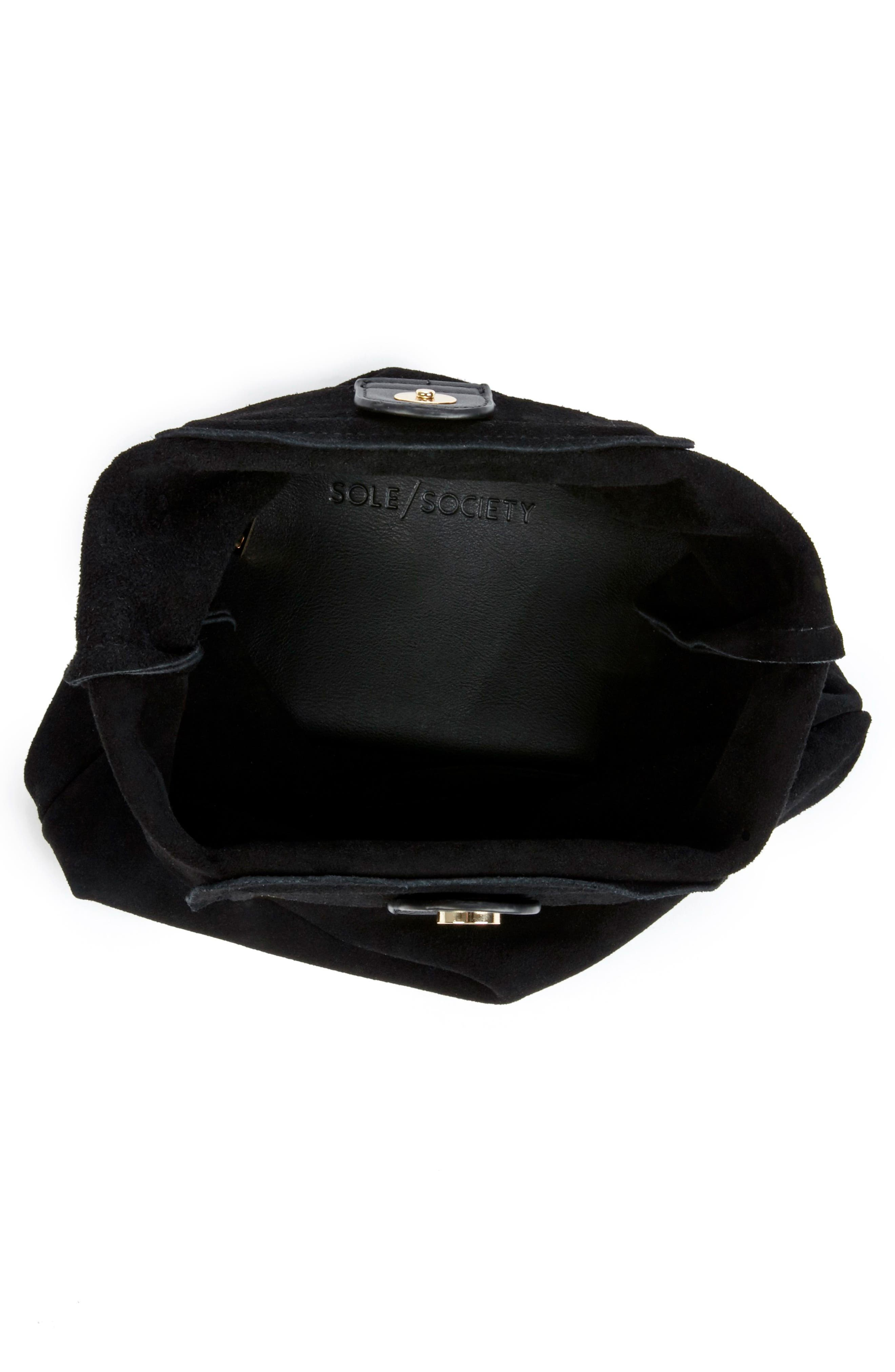 Suede Foldover Clutch,                             Alternate thumbnail 3, color,                             Black