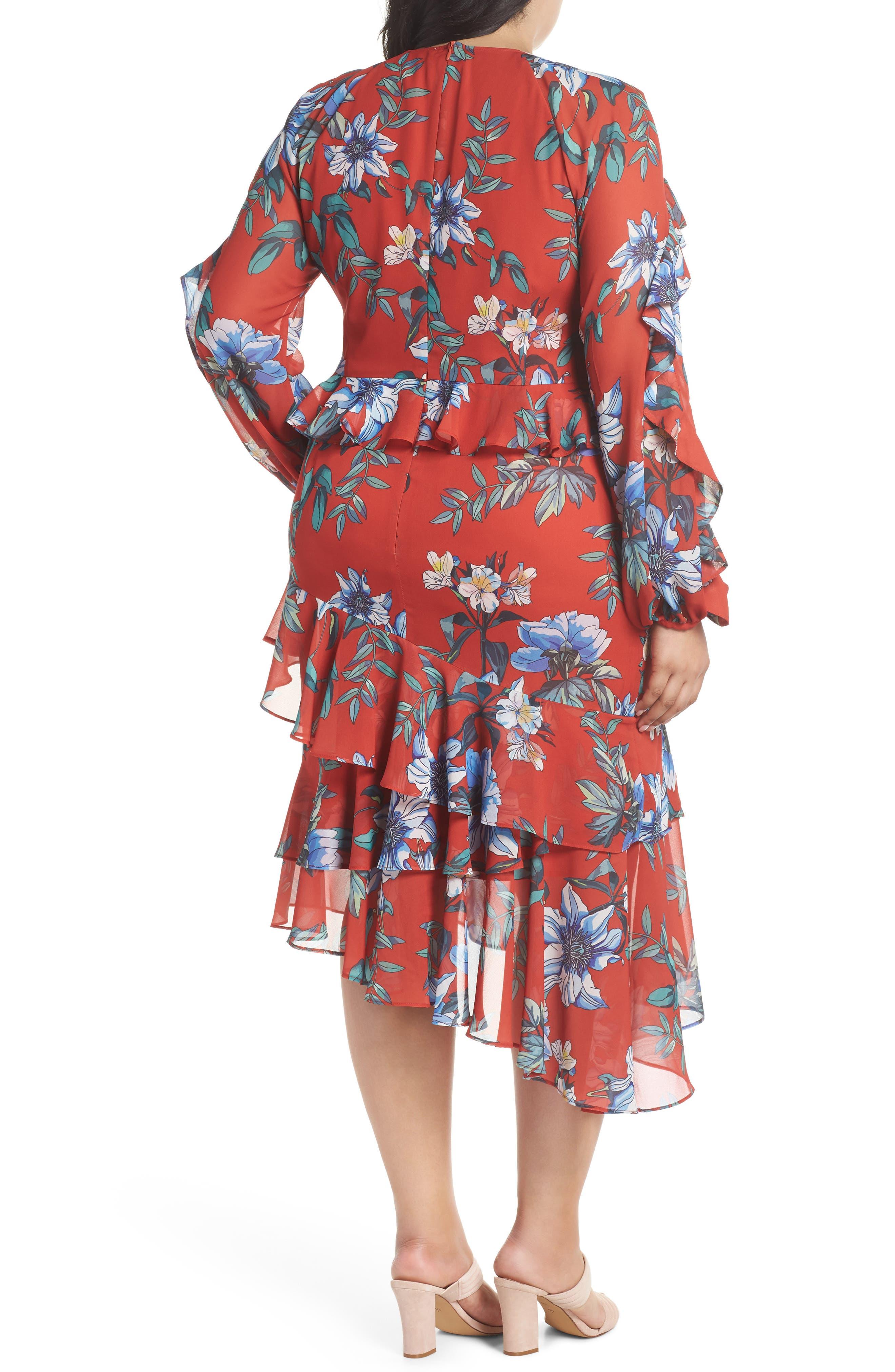 Floral Asymmetrical Dress,                             Alternate thumbnail 2, color,                             Print Dark