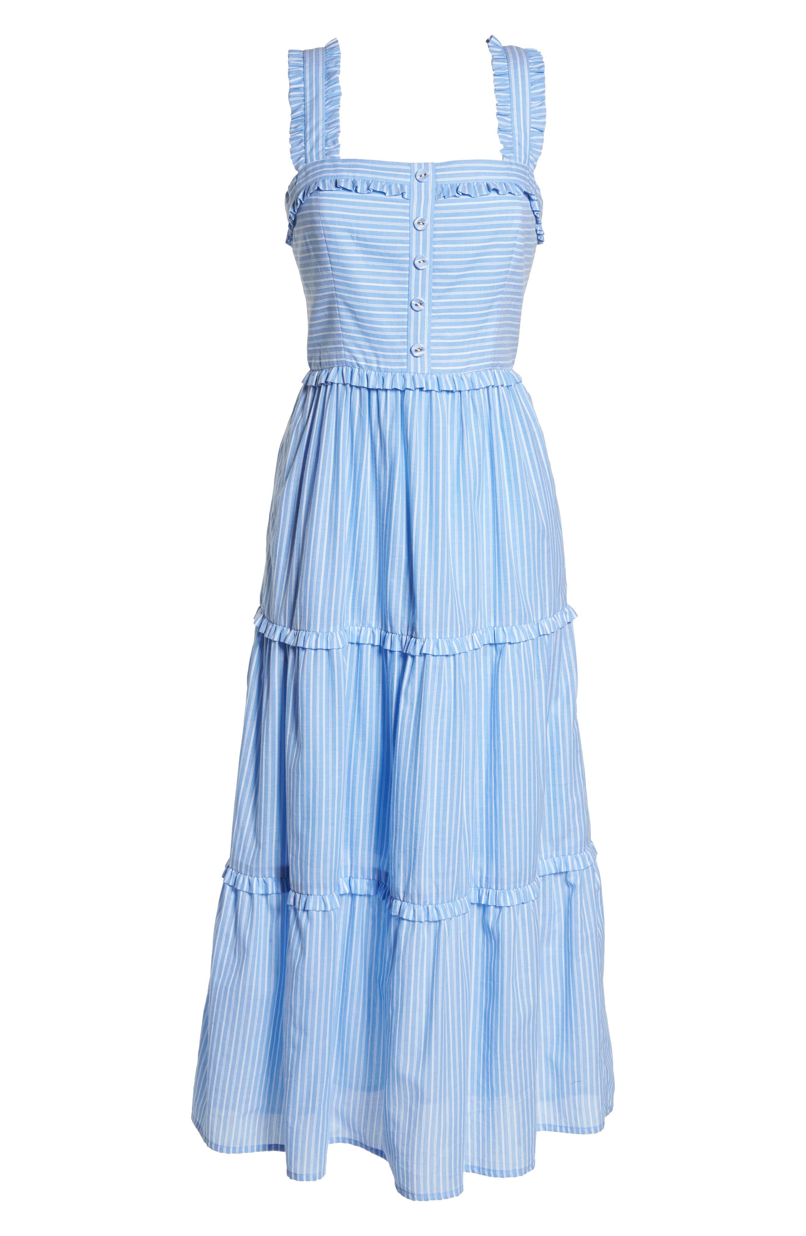 Courtney Rio Stripe Lawn Maxi Dress,                             Alternate thumbnail 8, color,                             Blue/ White