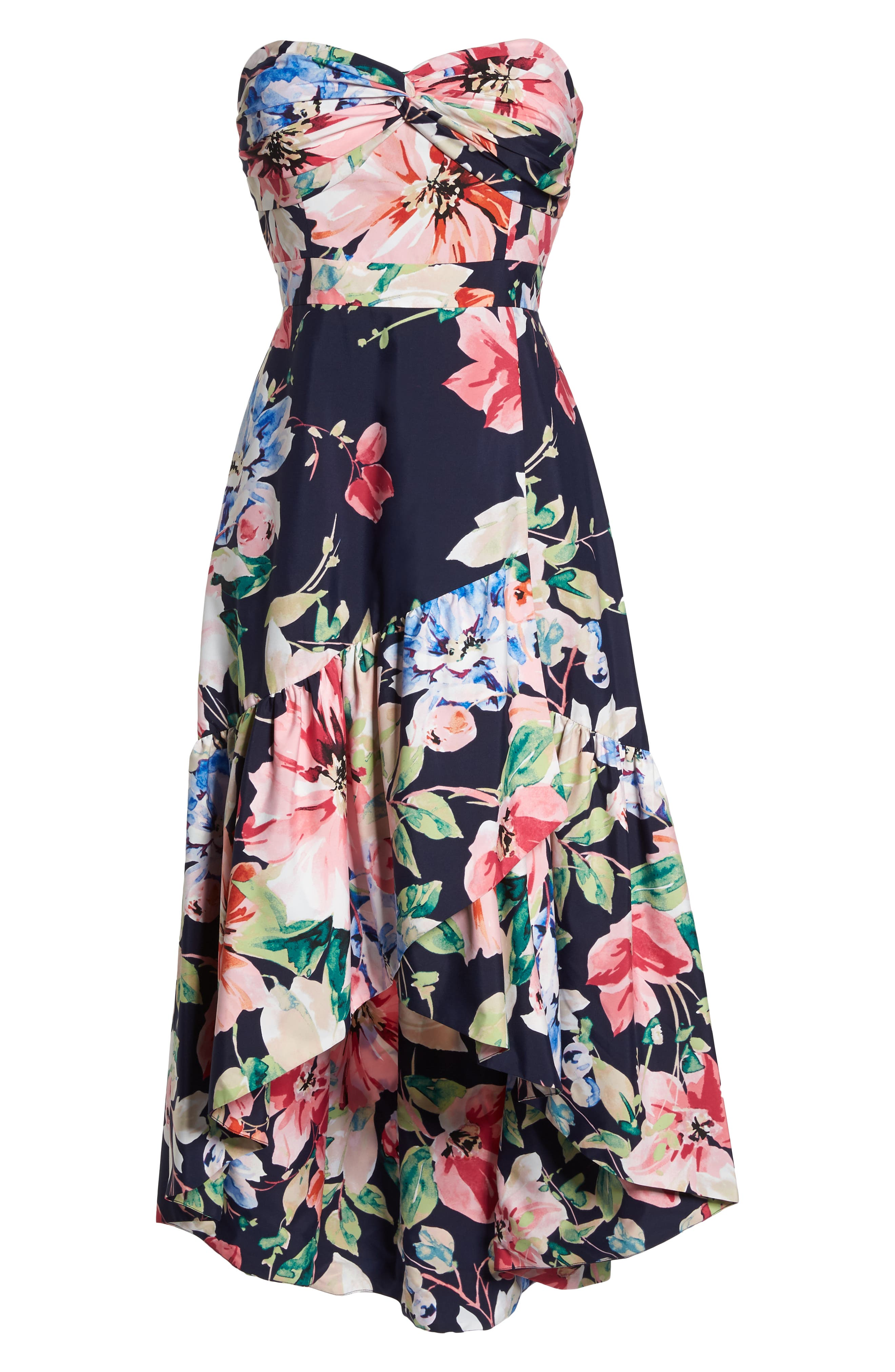 Strapless High/Low Dress,                             Alternate thumbnail 6, color,                             Navy/ Red