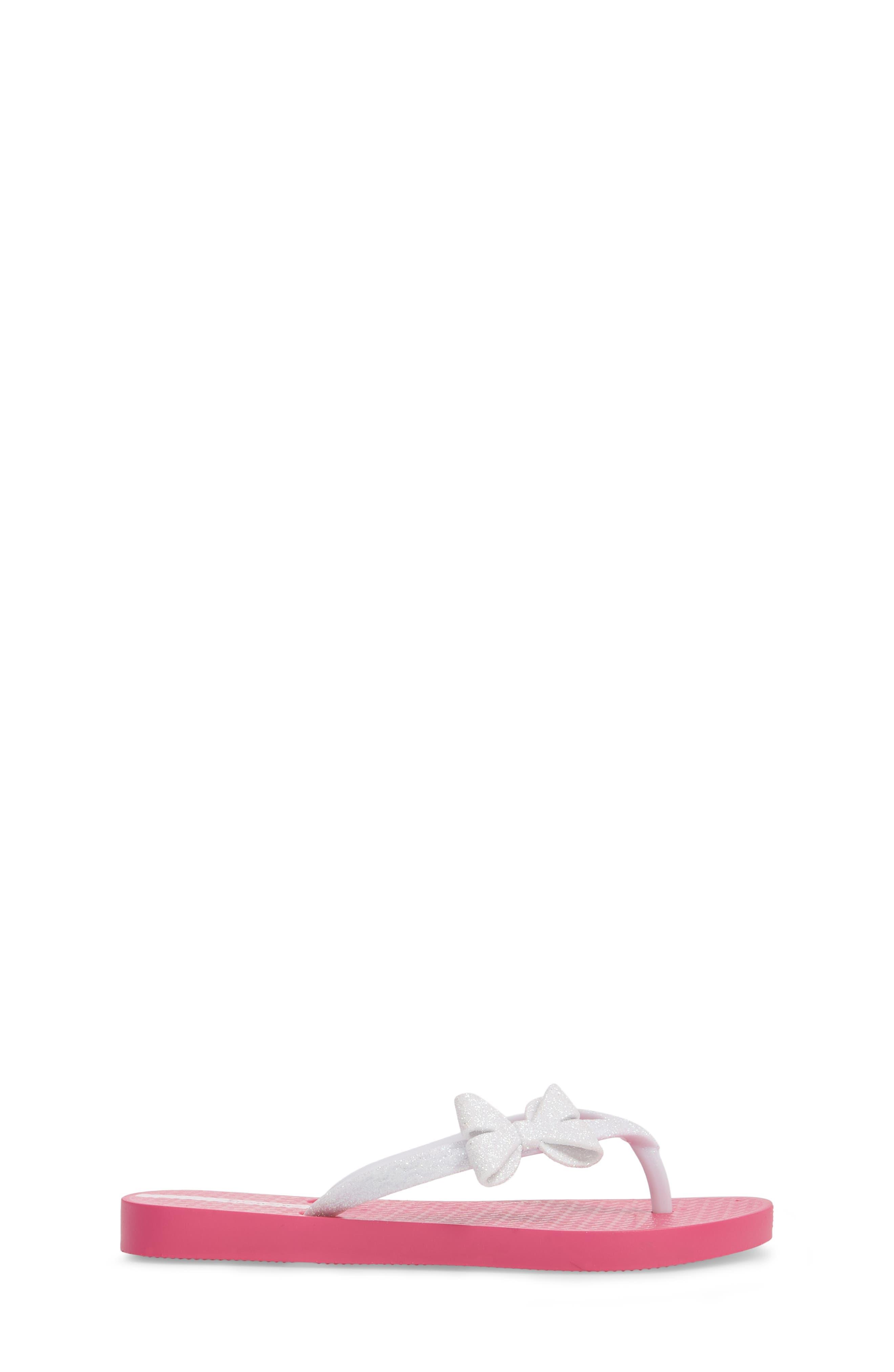 Glitter IV Flip Flop,                             Alternate thumbnail 3, color,                             Pink/ White