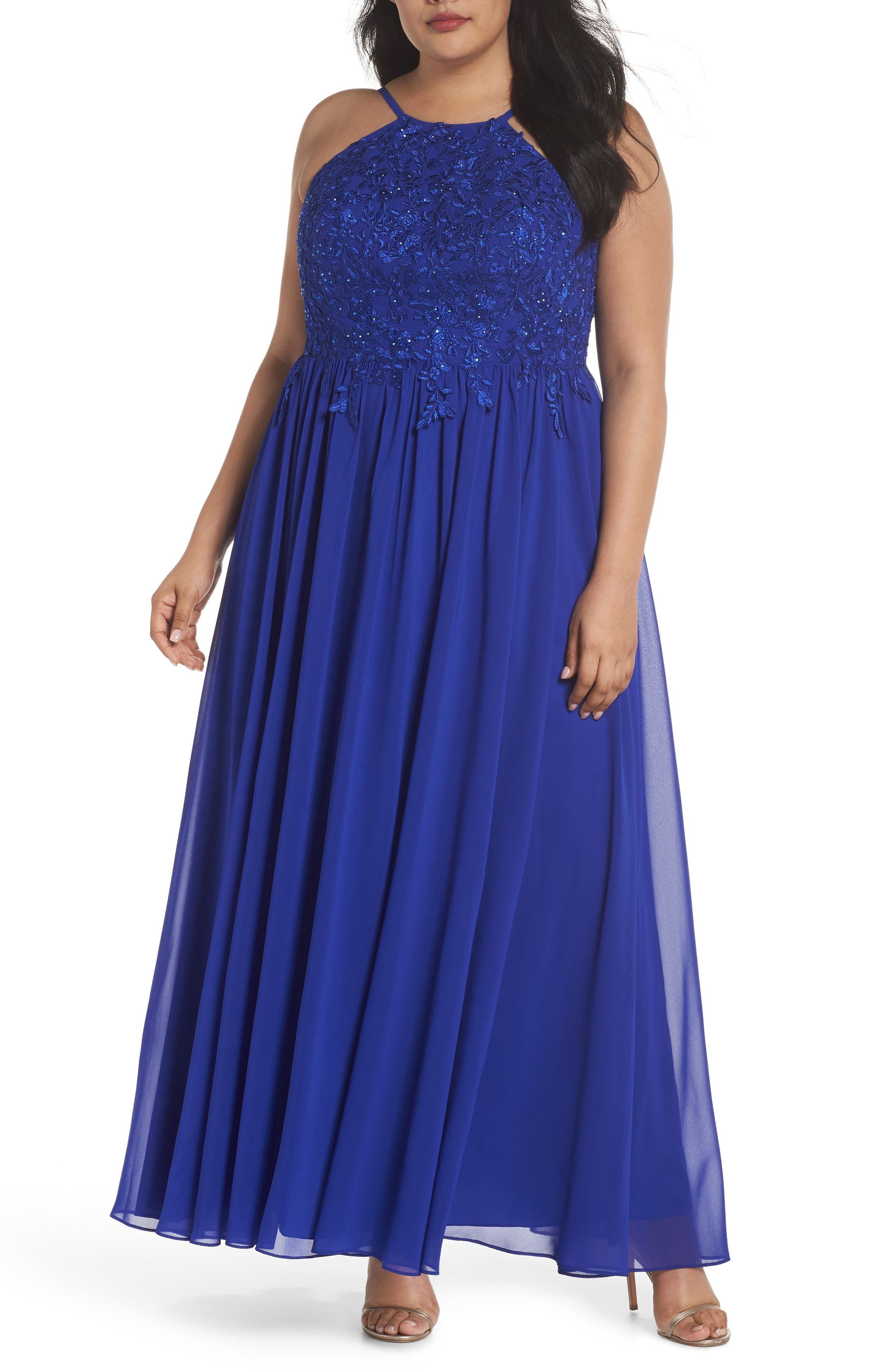 Embroidered Bodice Halter Top Maxi Dress,                             Main thumbnail 1, color,                             Royal