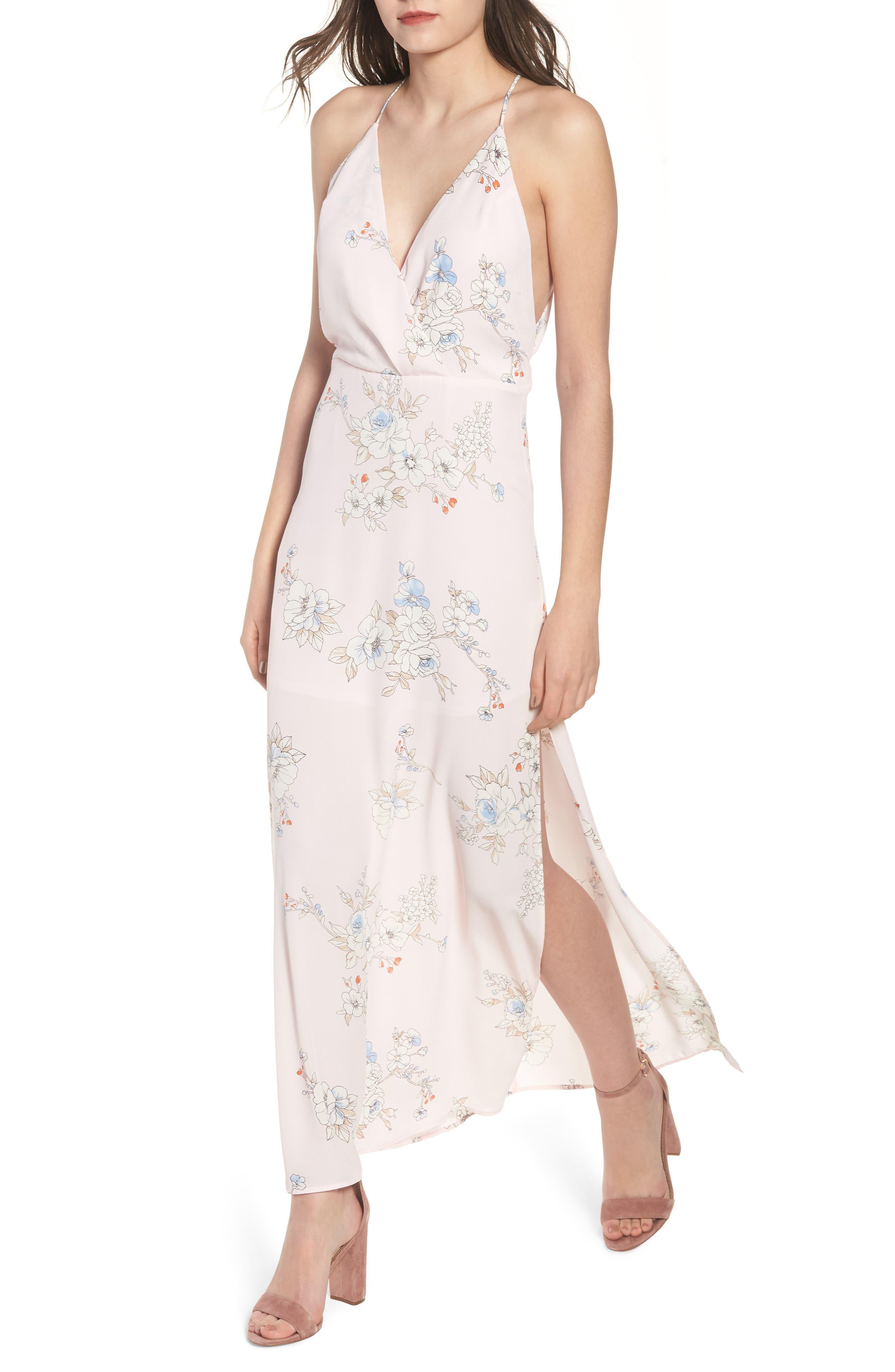 Surplice Maxi Dress,                             Main thumbnail 1, color,                             Pale Pink Floral