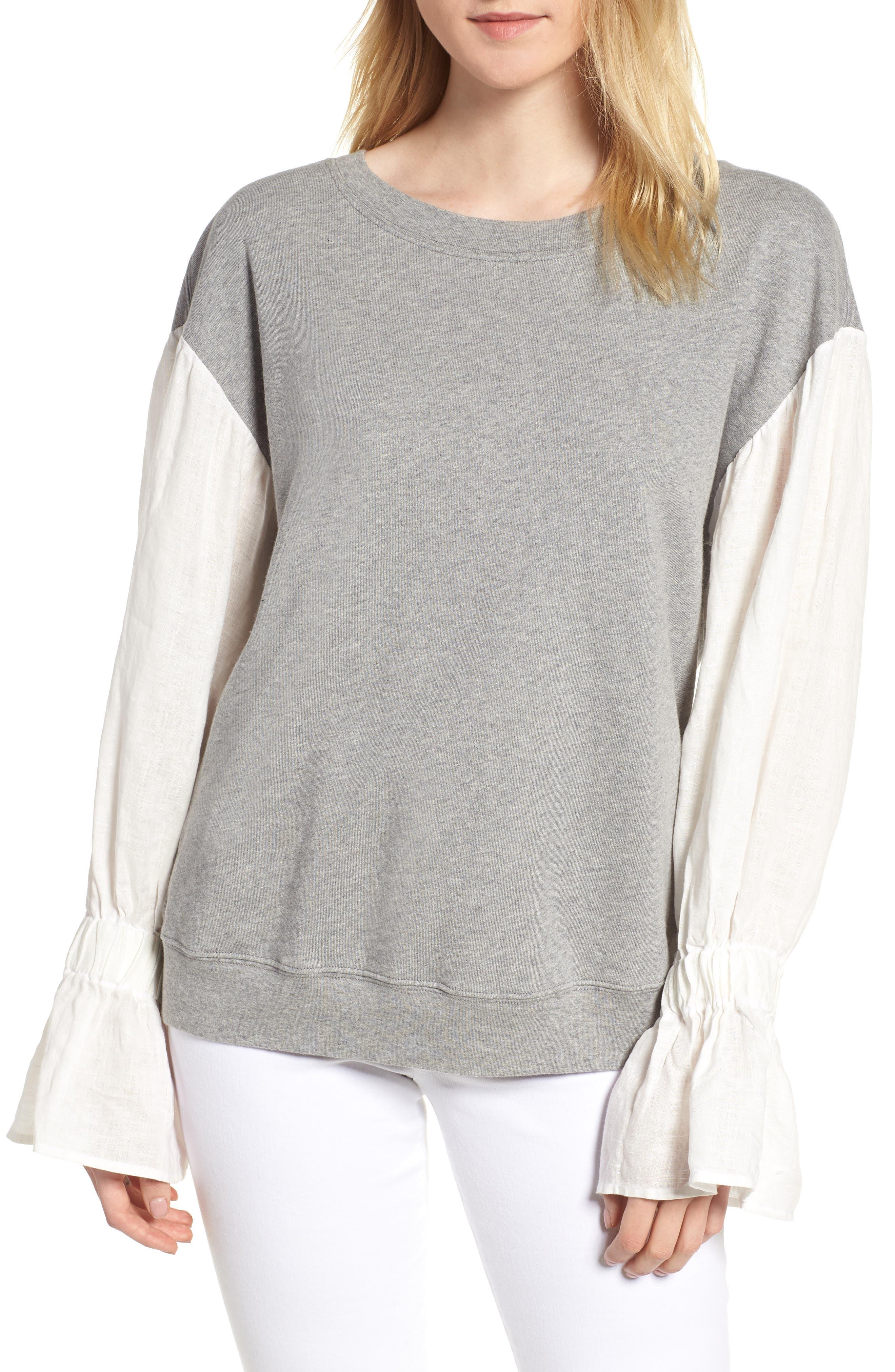 Cotton & Linen Pullover,                         Main,                         color, Heather Grey
