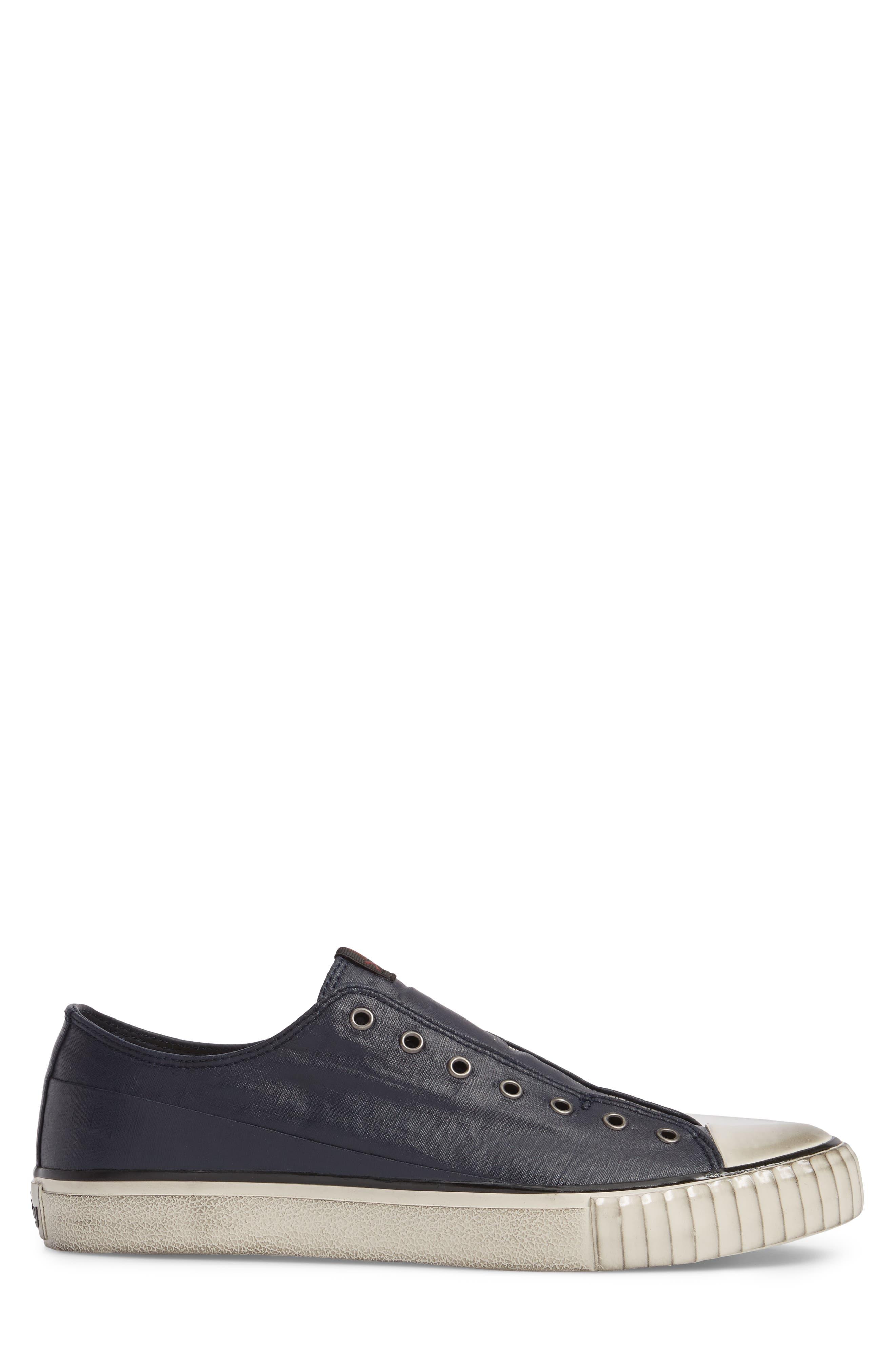 John Varvatos Star USA Bootleg Linen Laceless Sneaker,                             Alternate thumbnail 3, color,                             Midnight Linen