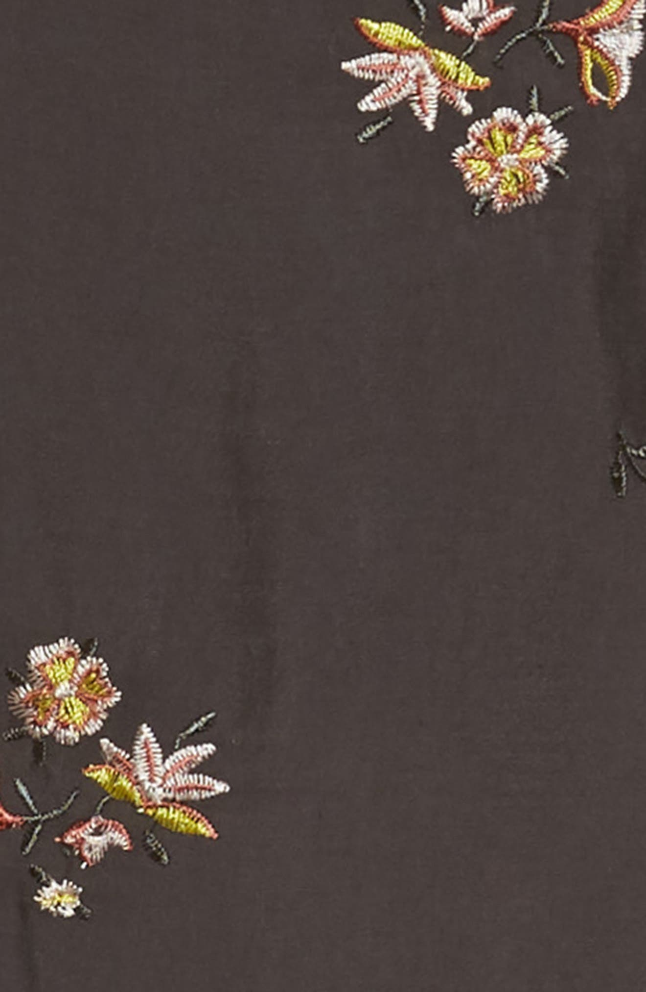 Floral Embroidered Shift Dress,                             Alternate thumbnail 3, color,                             Black Raven Organic Floral
