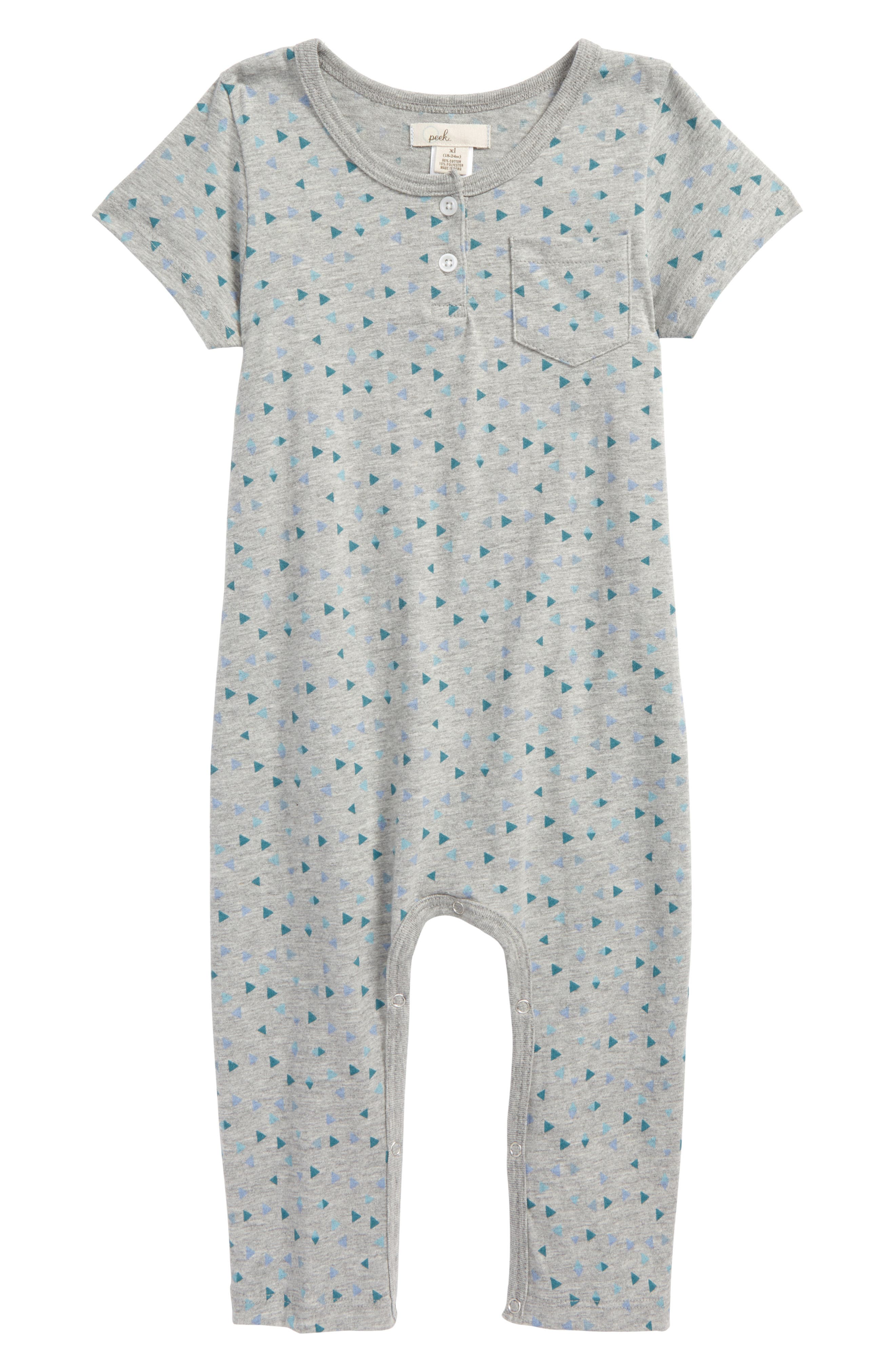 Peek Geo Print Romper,                             Main thumbnail 1, color,                             Heather Grey