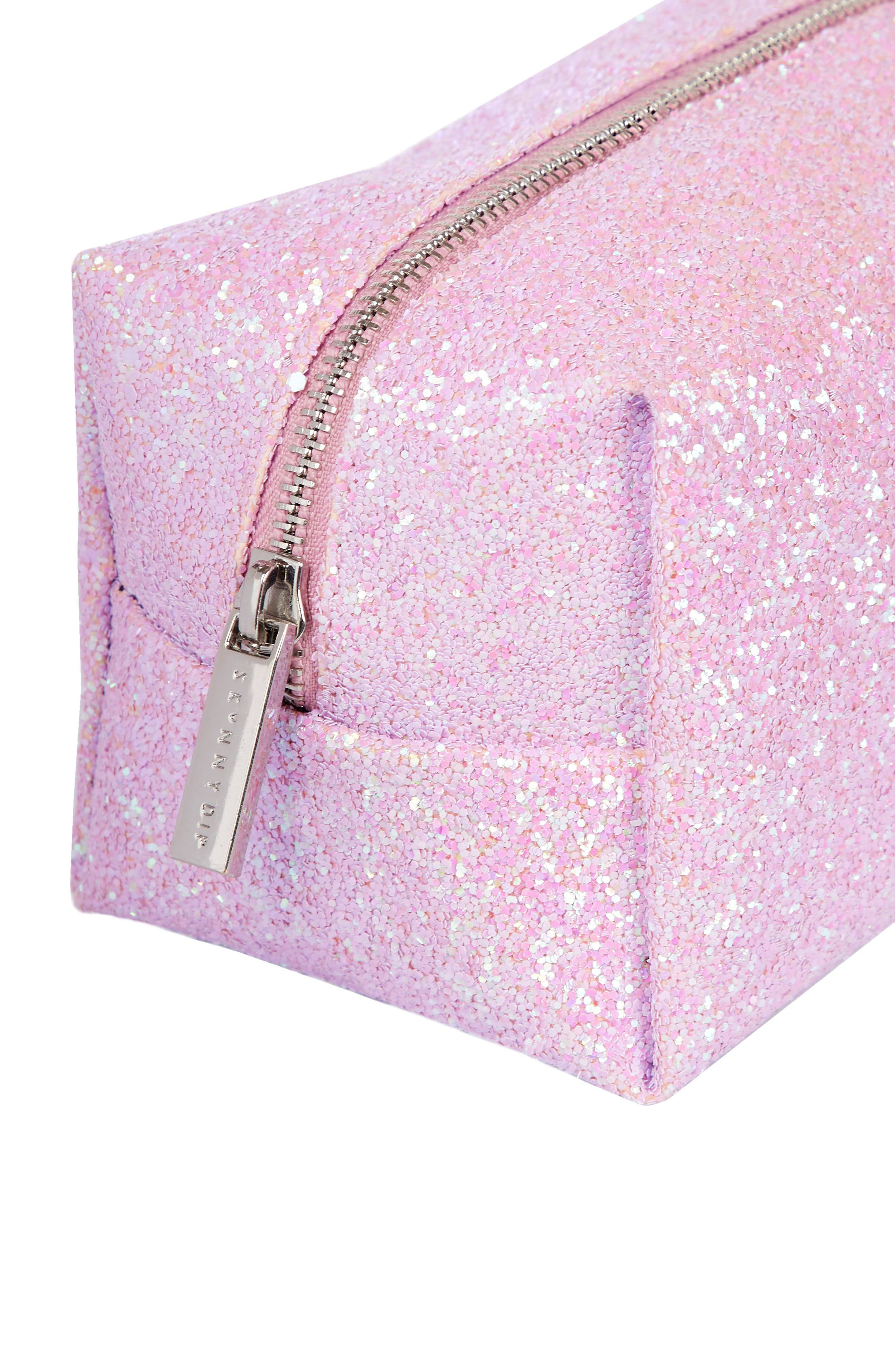 Skinny Dip Pink Glitsy Cosmetics Case,                             Alternate thumbnail 4, color,                             No Color