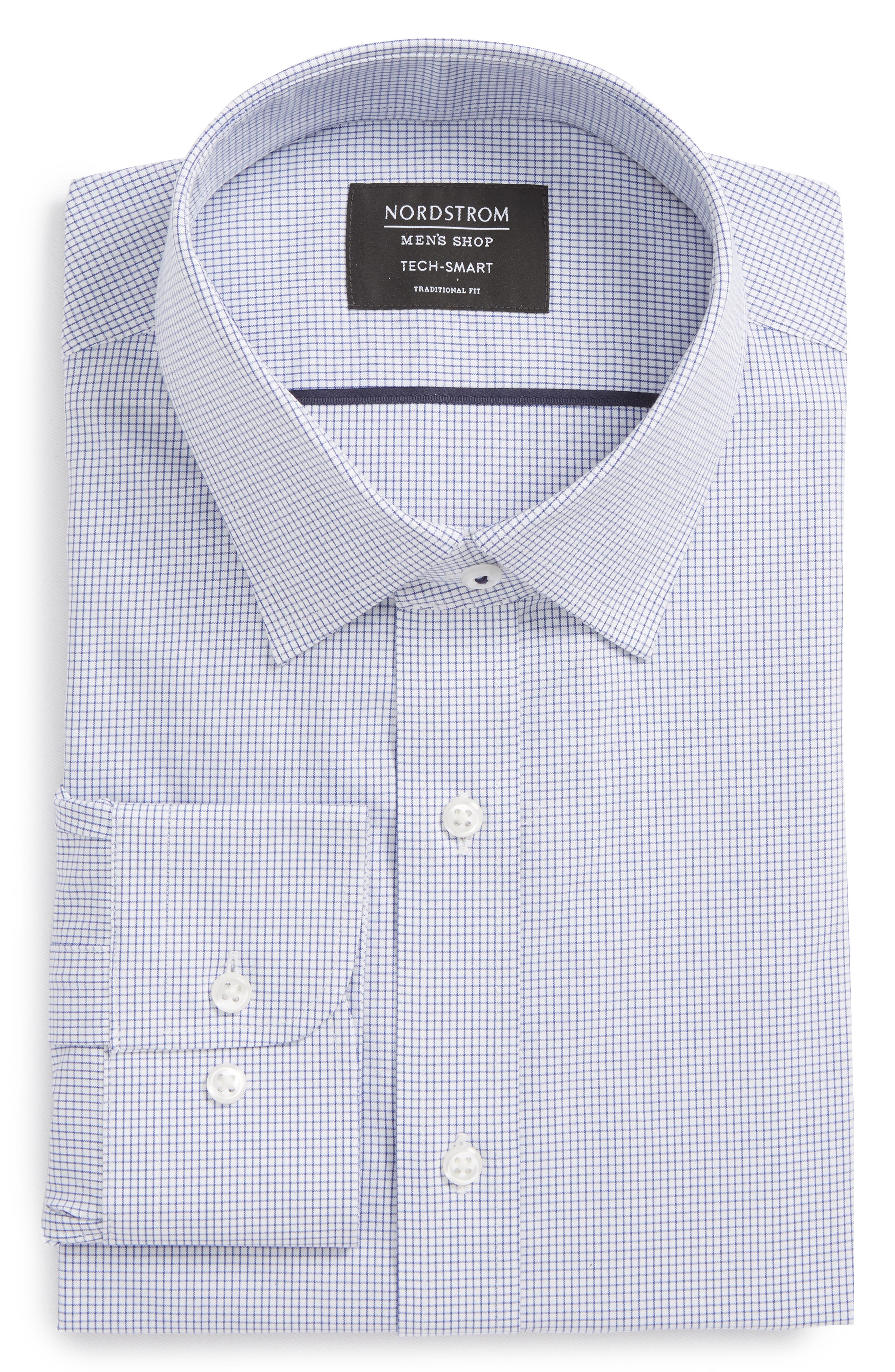 Tech-Smart Traditional Fit Stretch Tattersall Dress Shirt,                         Main,                         color, Blue Marine