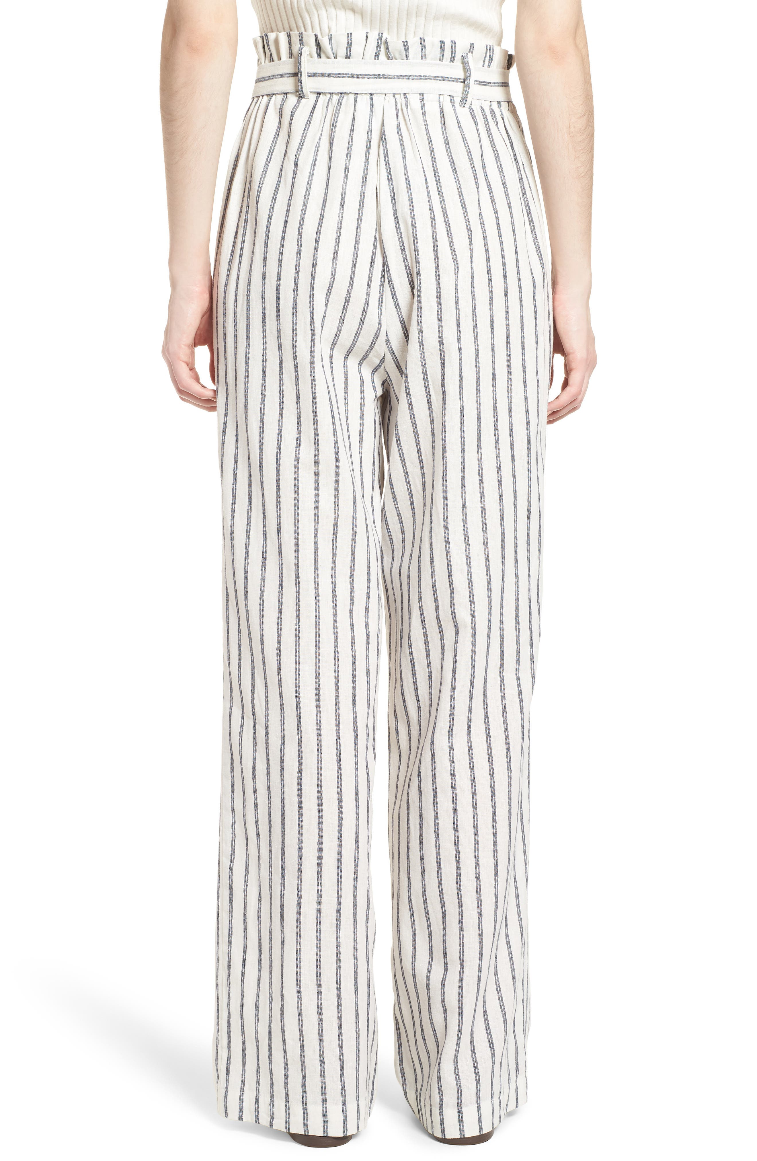 Paper Bag Linen & Cotton Pants,                             Alternate thumbnail 3, color,                             Ivory / Blue Stripe