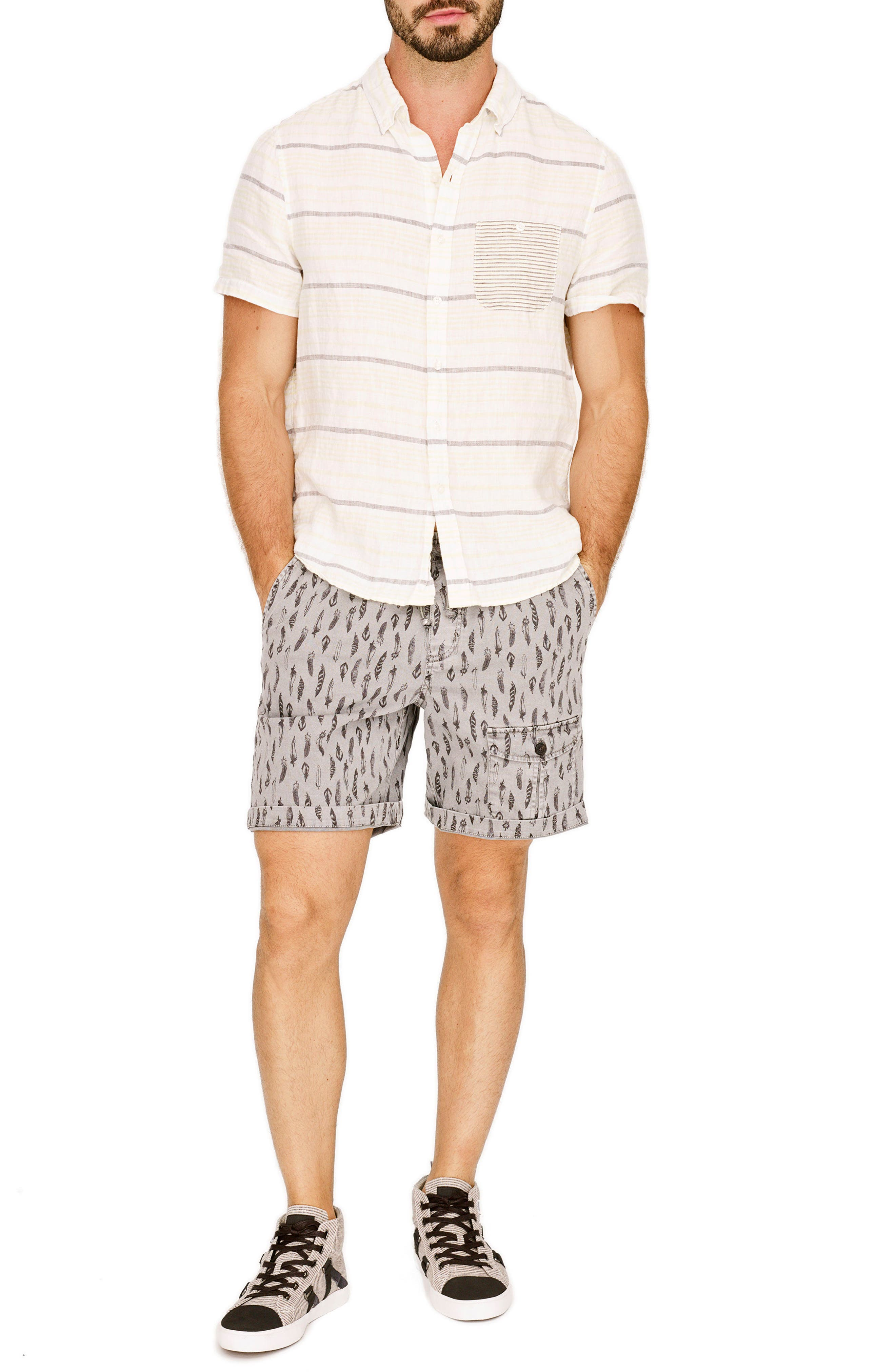 Stripe Linen Sport Shirt,                             Alternate thumbnail 7, color,                             Pale Lemon