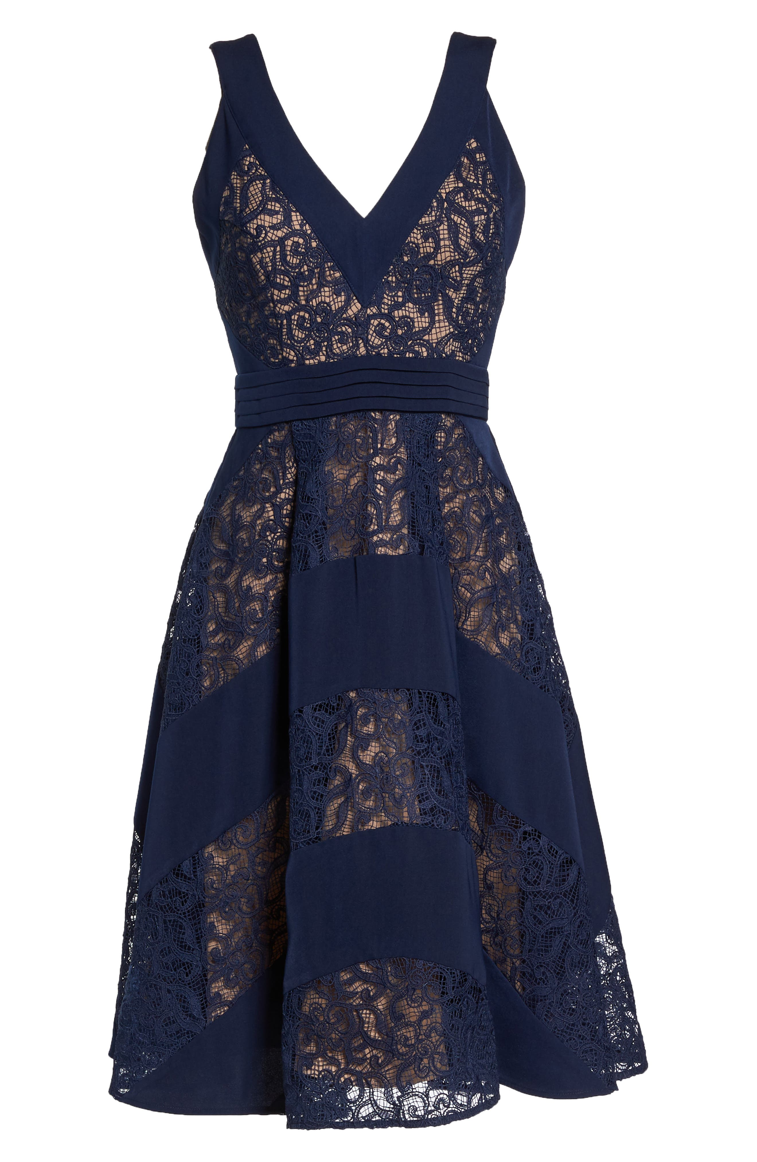 Mixed Lace Fit & Flare Dress,                             Alternate thumbnail 6, color,                             Navy