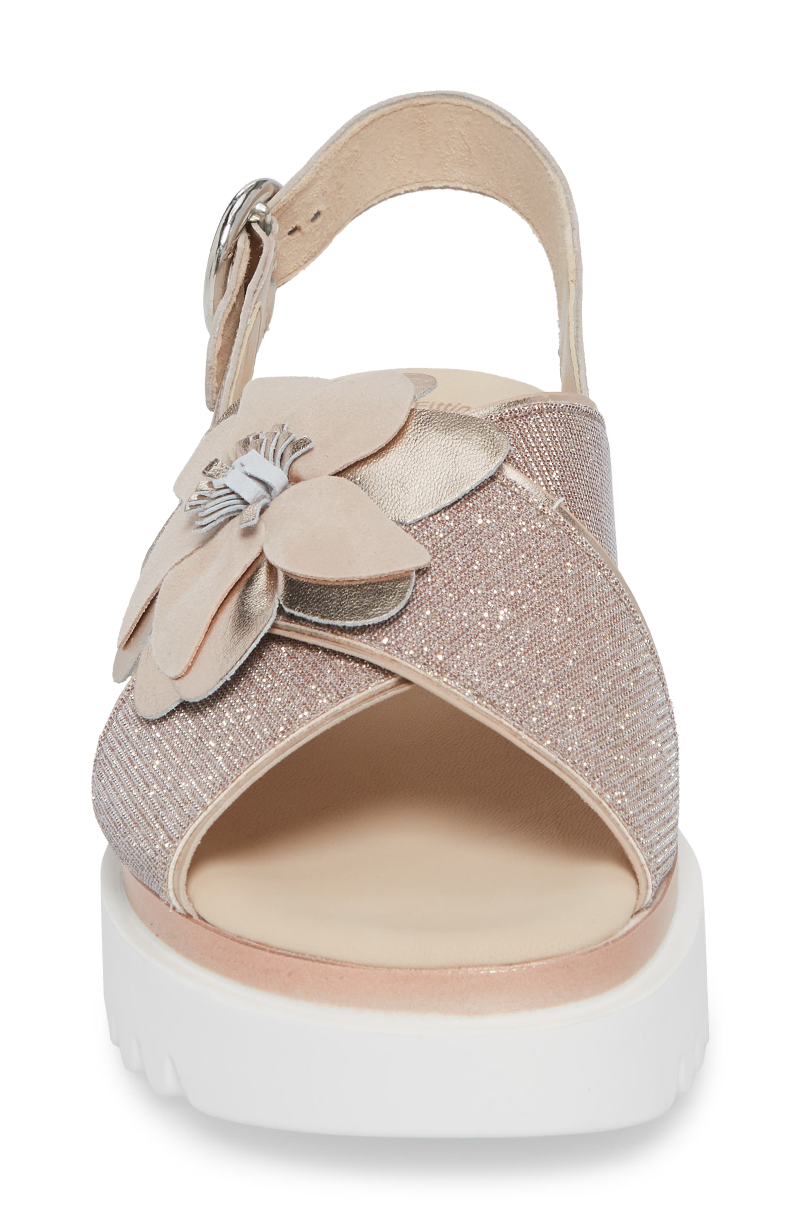 Flower Platform Sandal,                             Alternate thumbnail 4, color,                             Rose Metallic Fabric