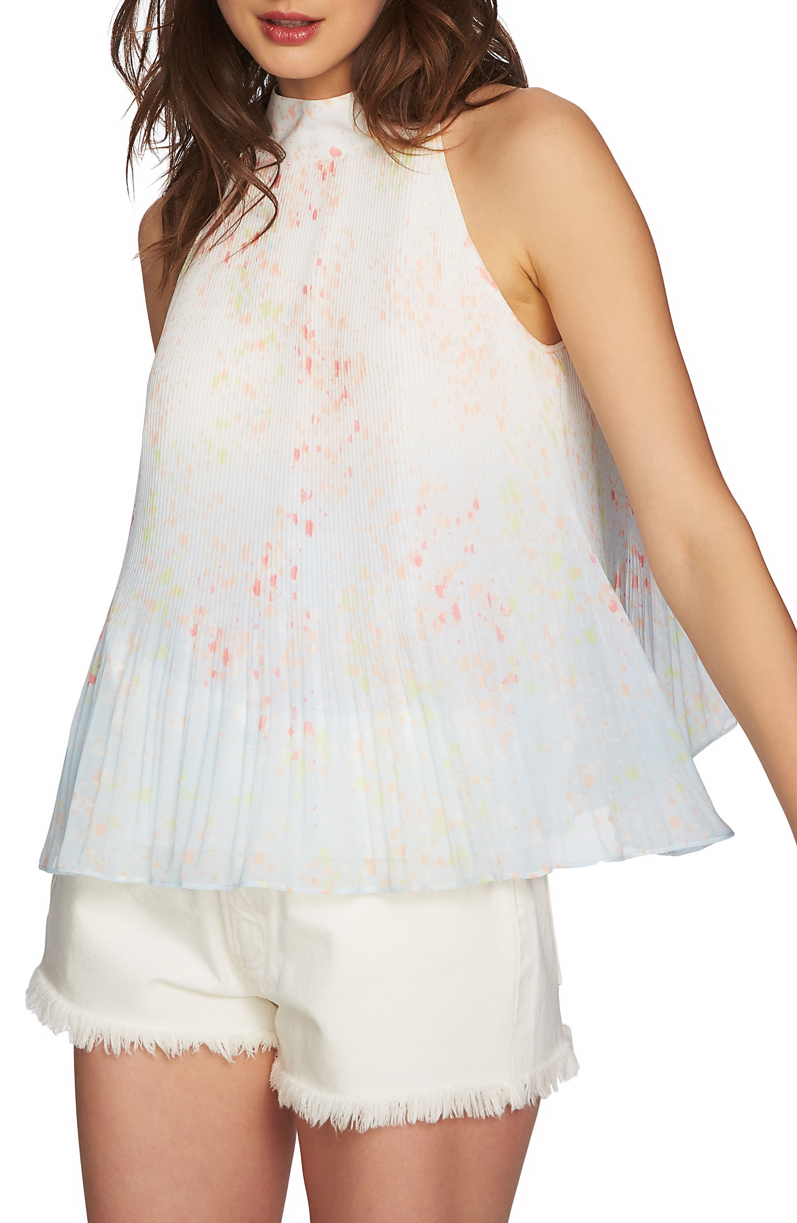 Pleated Top,                             Main thumbnail 1, color,                             New Ivory