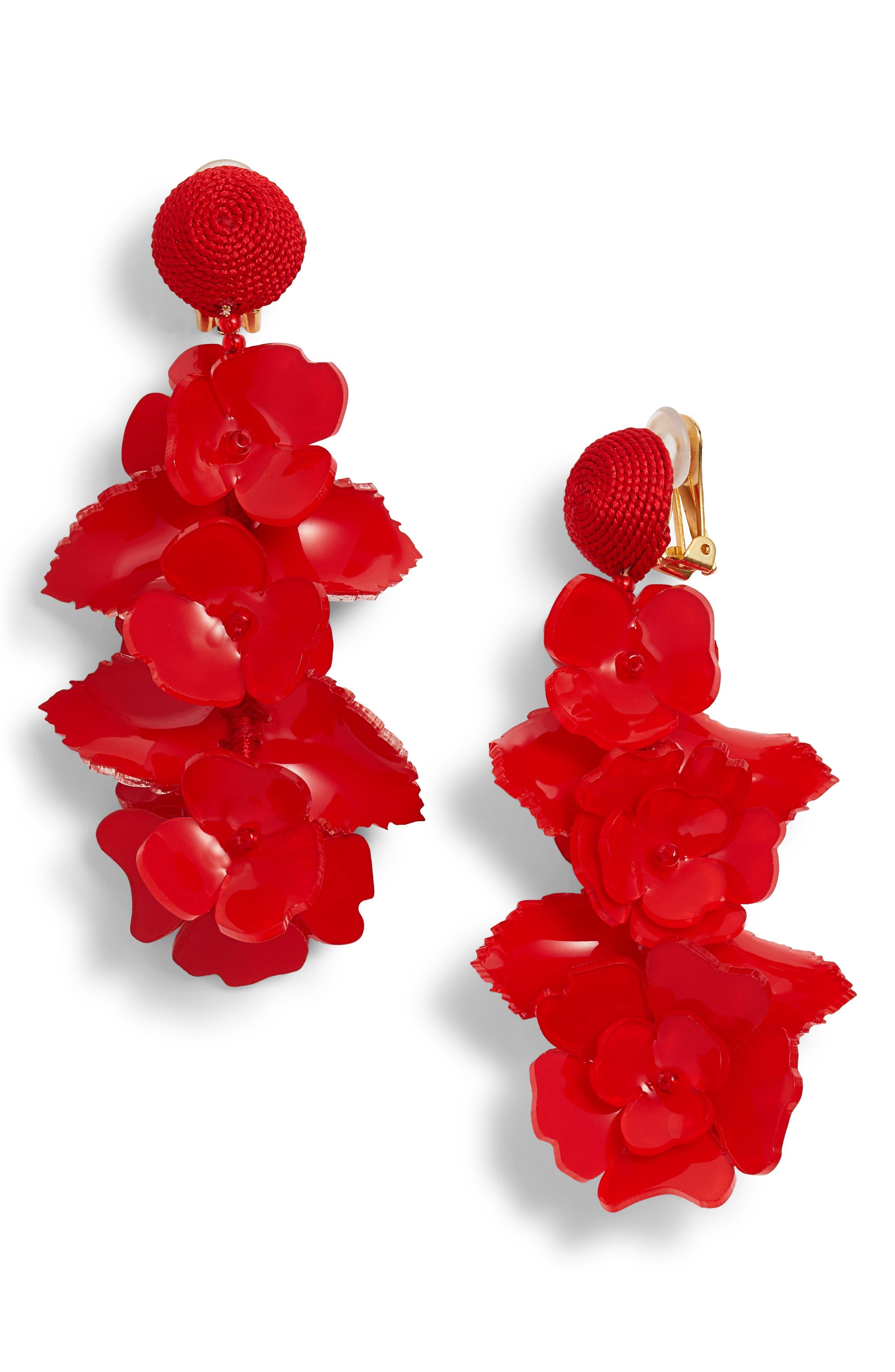 Climbing Flower Drop Earrings, Carmine