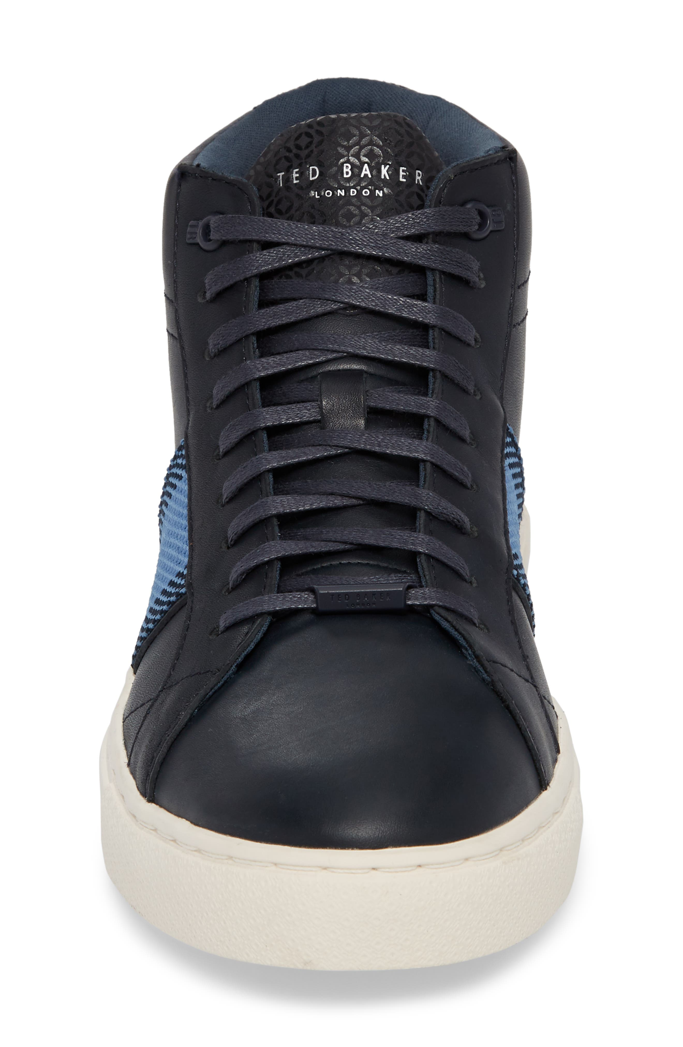 Cruuw High Top Sneaker,                             Alternate thumbnail 4, color,                             Dark Blue Leather
