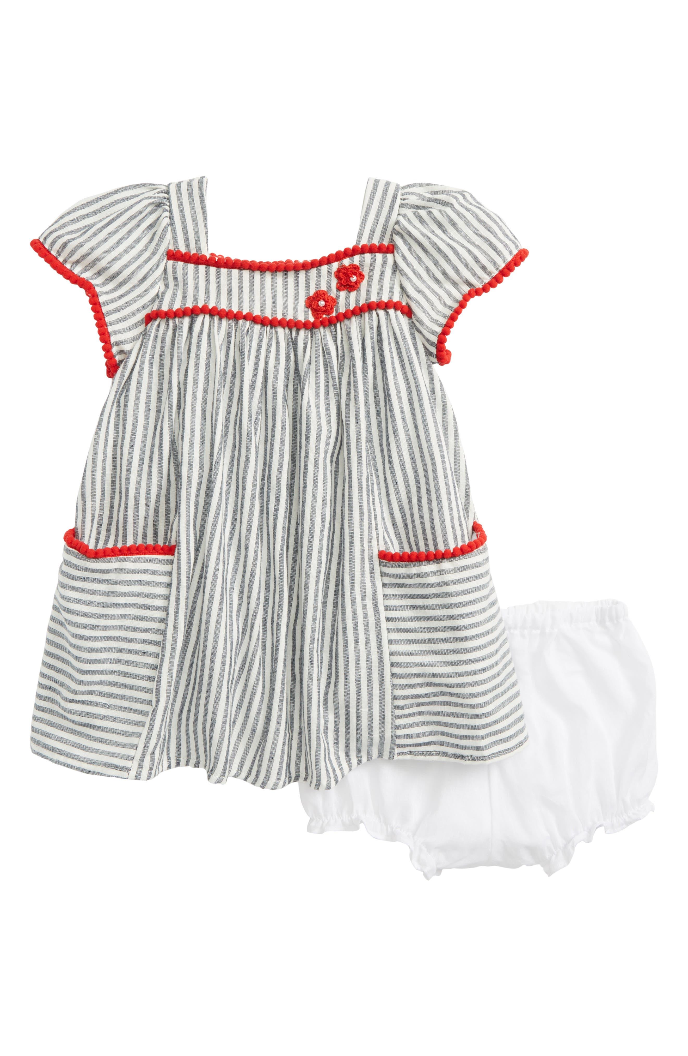 Stripe Dress,                             Main thumbnail 1, color,                             Grey/ White