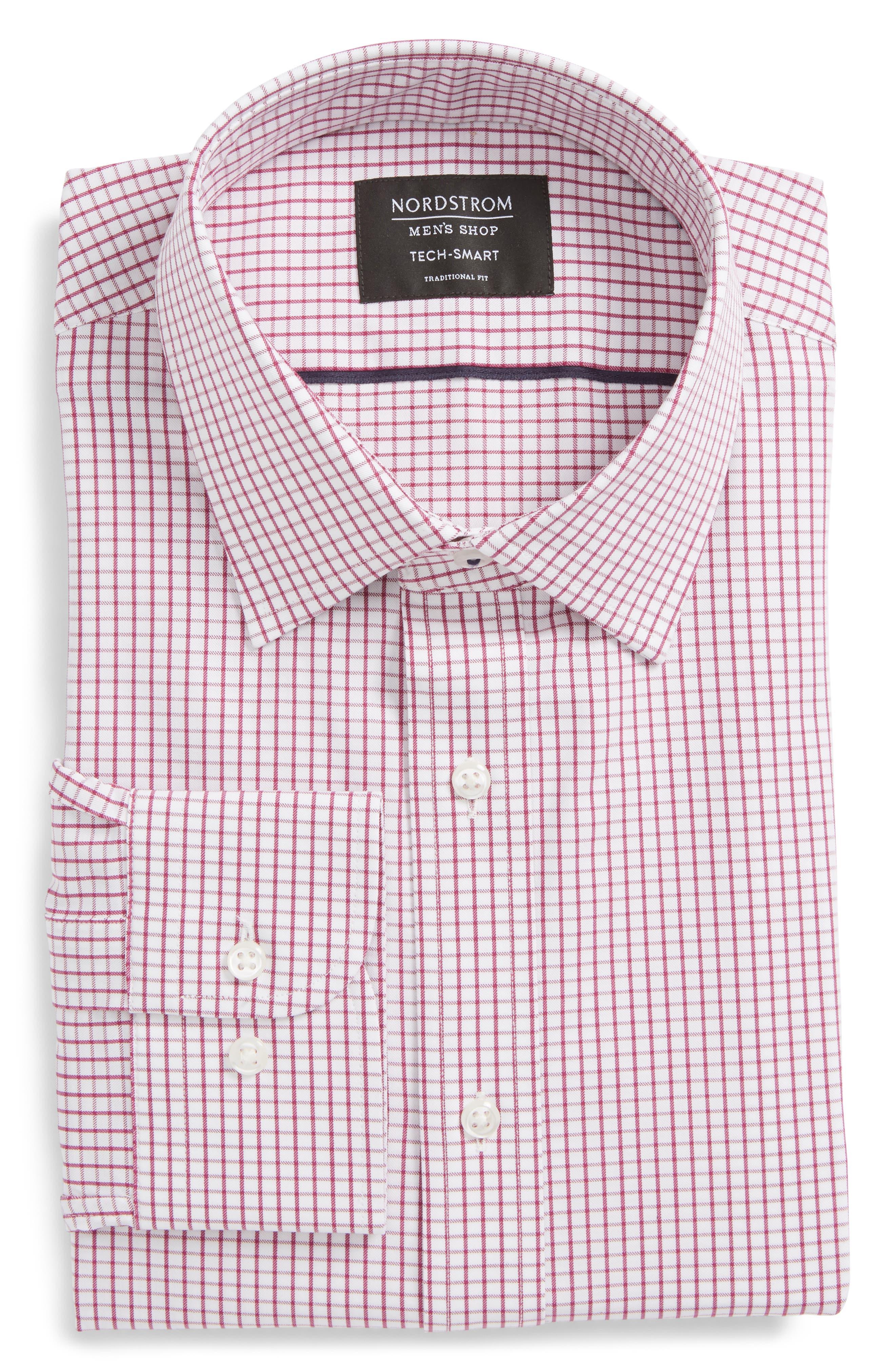 Tech-Smart Traditional Fit Stretch Tattersall Dress Shirt,                         Main,                         color, Purple Boysen