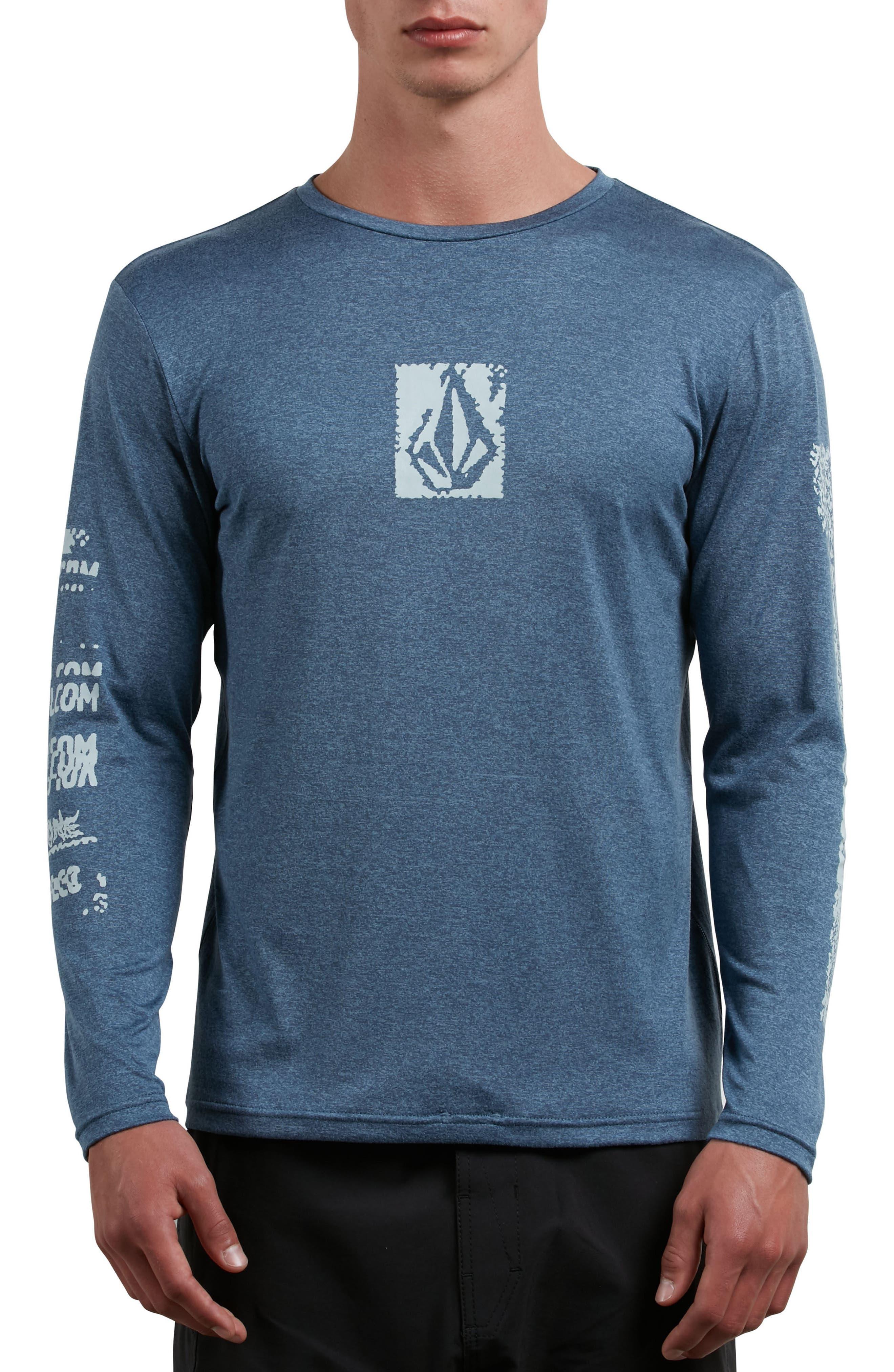 Lido Pixel Graphic Long Sleeve T-Shirt,                         Main,                         color, Deep Blue