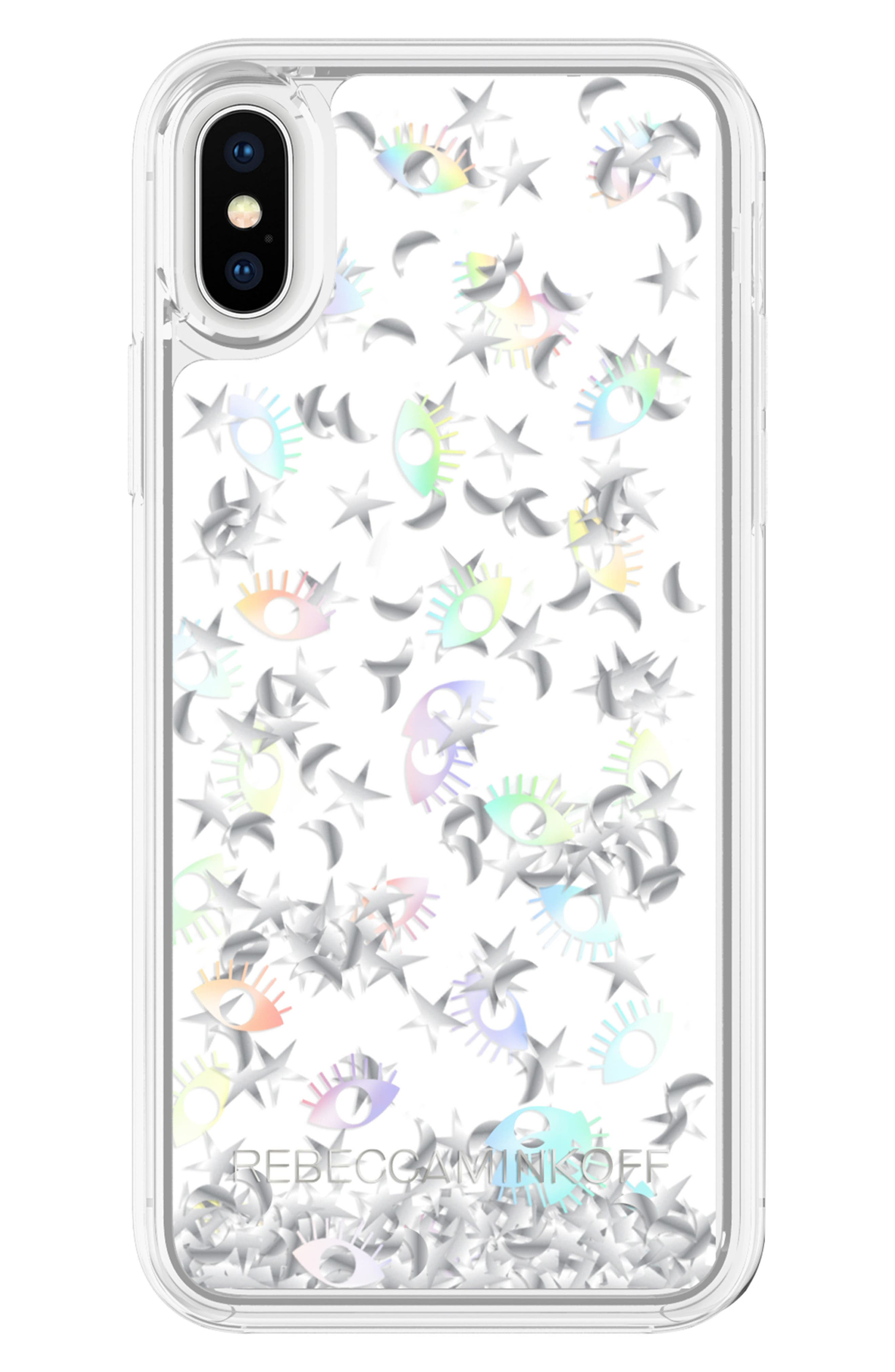 Galaxy Icon Glitterfall iPhone X Case,                             Main thumbnail 1, color,                             Holographic/ Clear