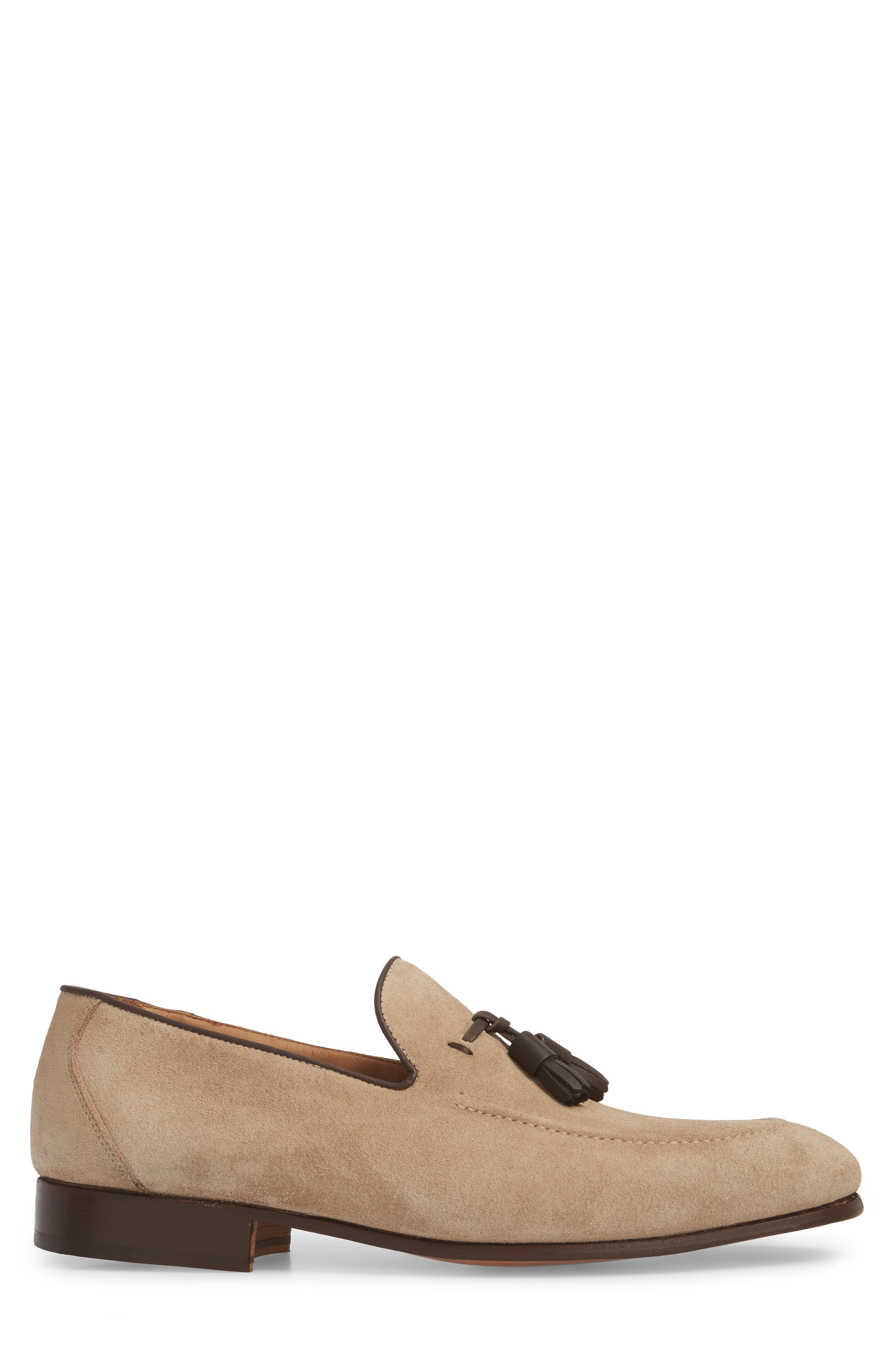 Ario Tassel Loafer,                             Alternate thumbnail 3, color,                             Sand Suede