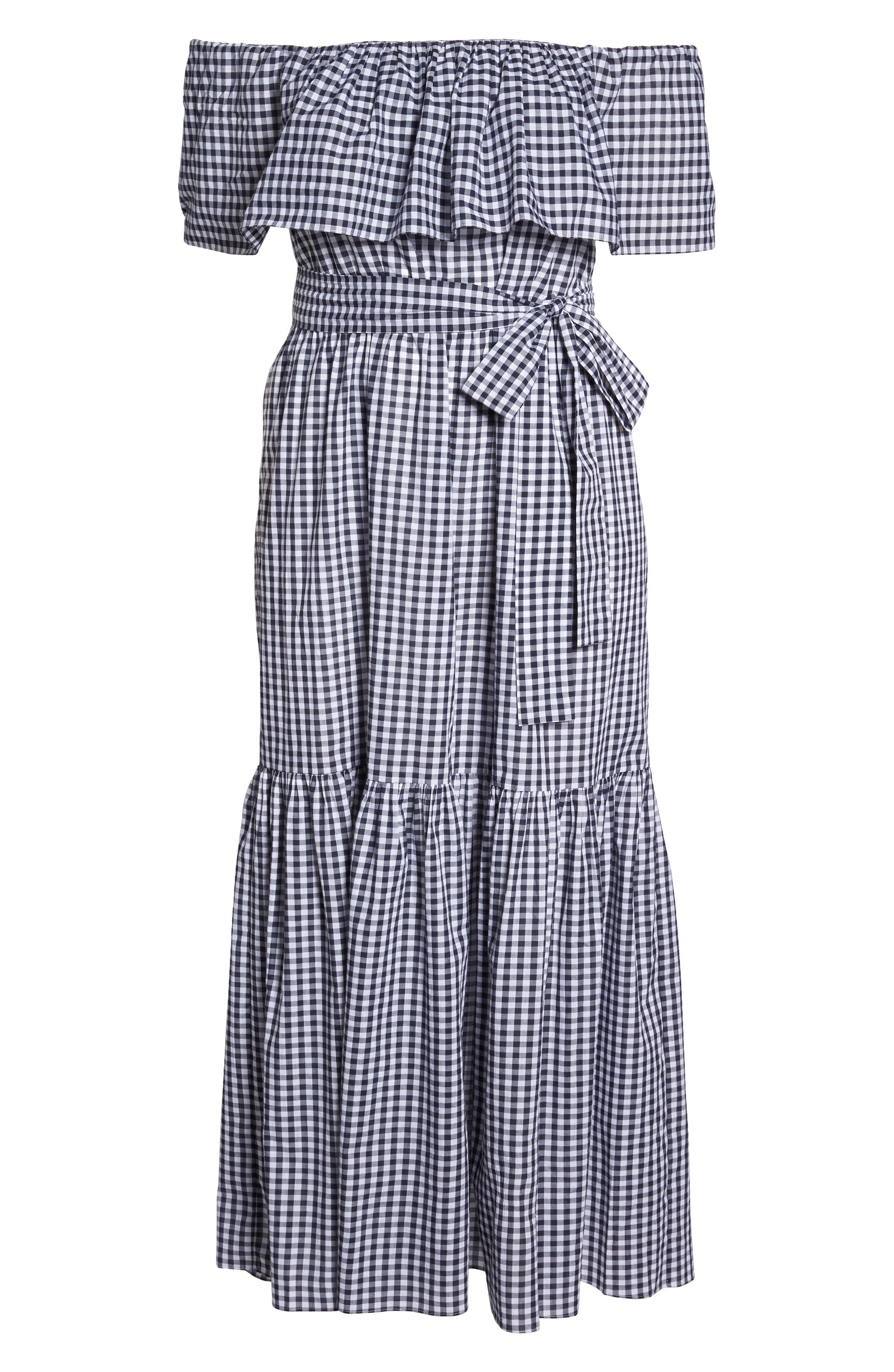 Off the Shoulder Gingham Maxi Dress,                             Alternate thumbnail 6, color,                             Blue White Gingham