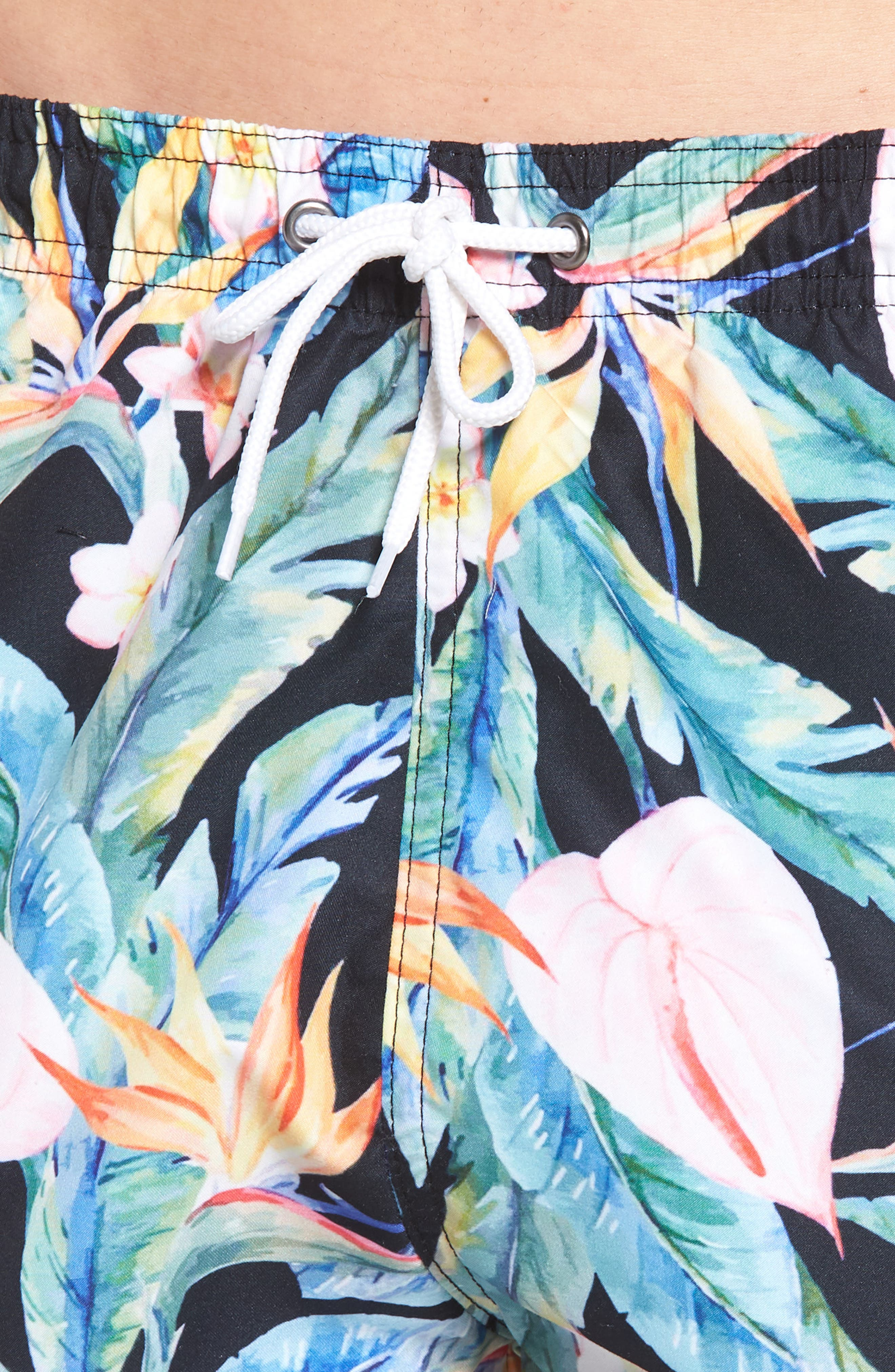 Floral Print Swim Trunks,                             Alternate thumbnail 4, color,                             Multi