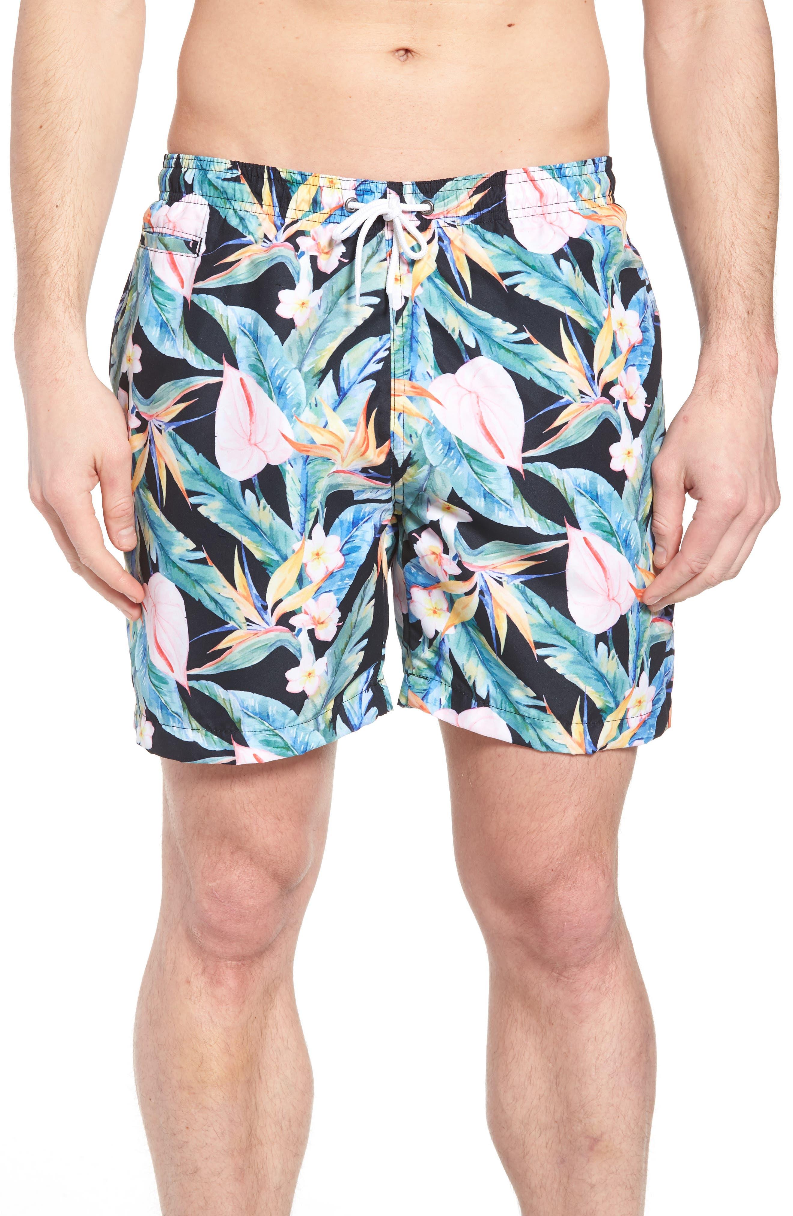 Floral Print Swim Trunks,                         Main,                         color, Multi