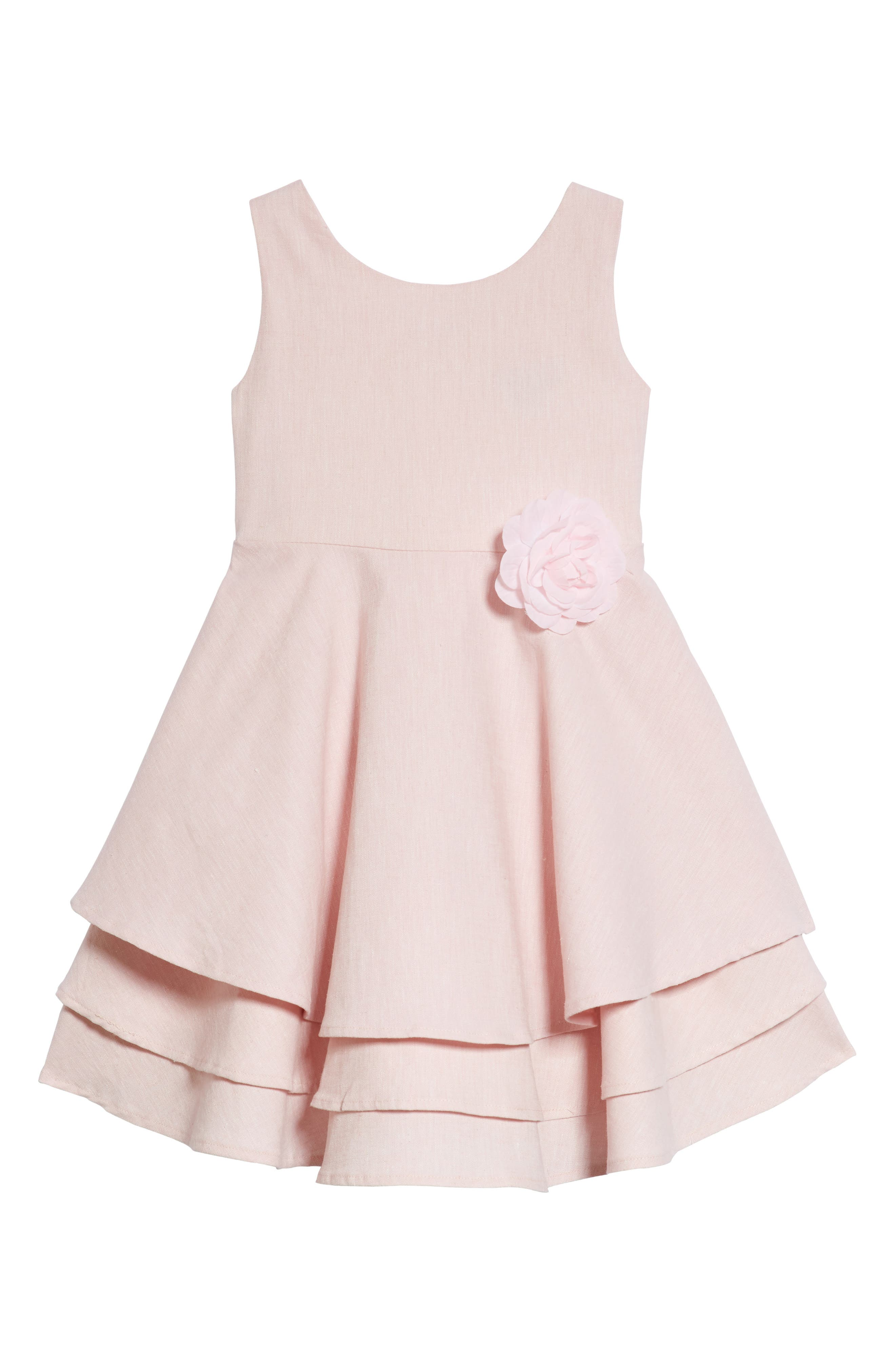 Main Image - Ava & Yelly Tiered Linen Blend Party Dress (Toddler Girls & Little Girls)