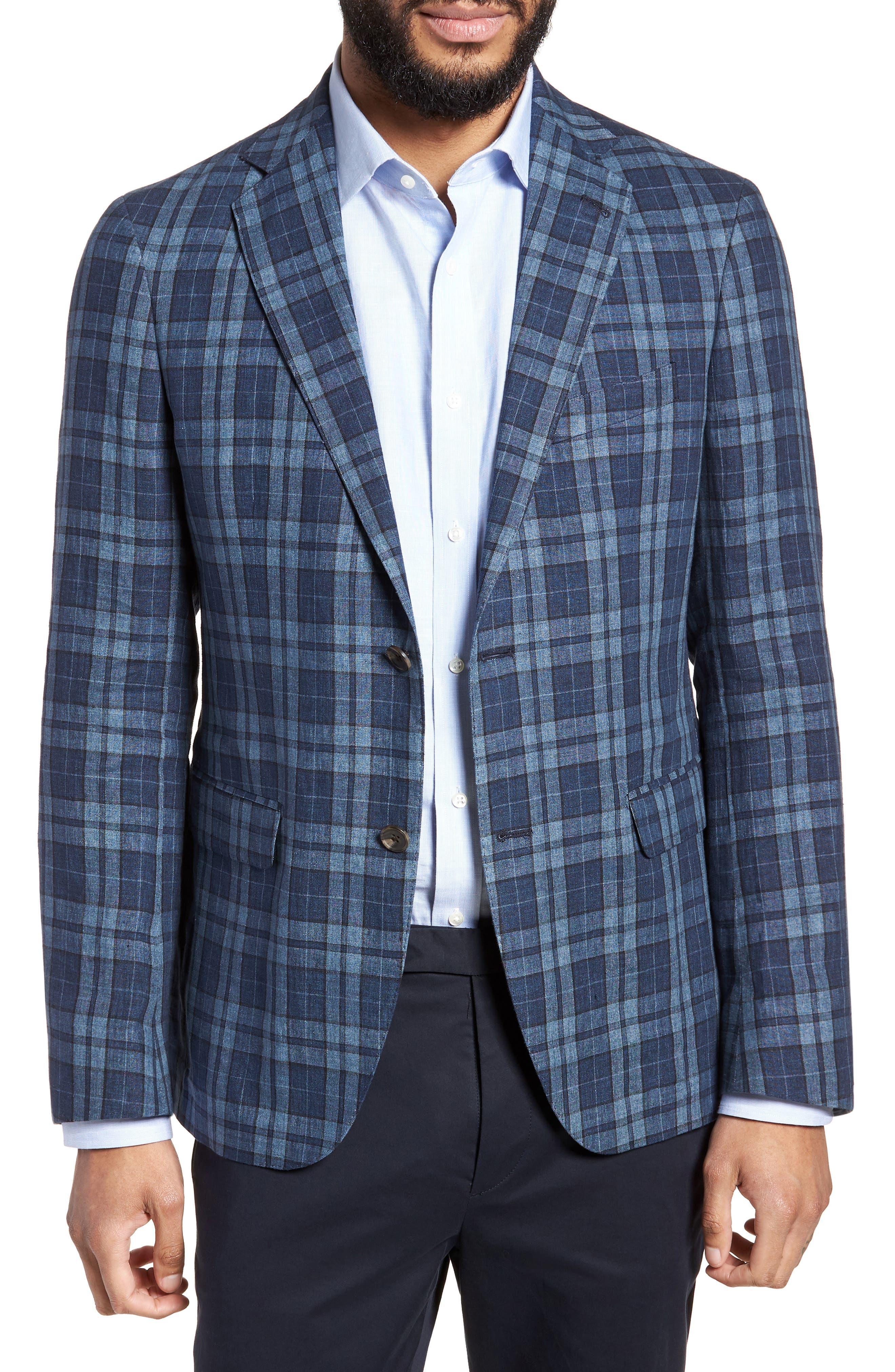 Vanquish Trim Fit Plaid Linen Sport Coat,                             Main thumbnail 1, color,                             Blue