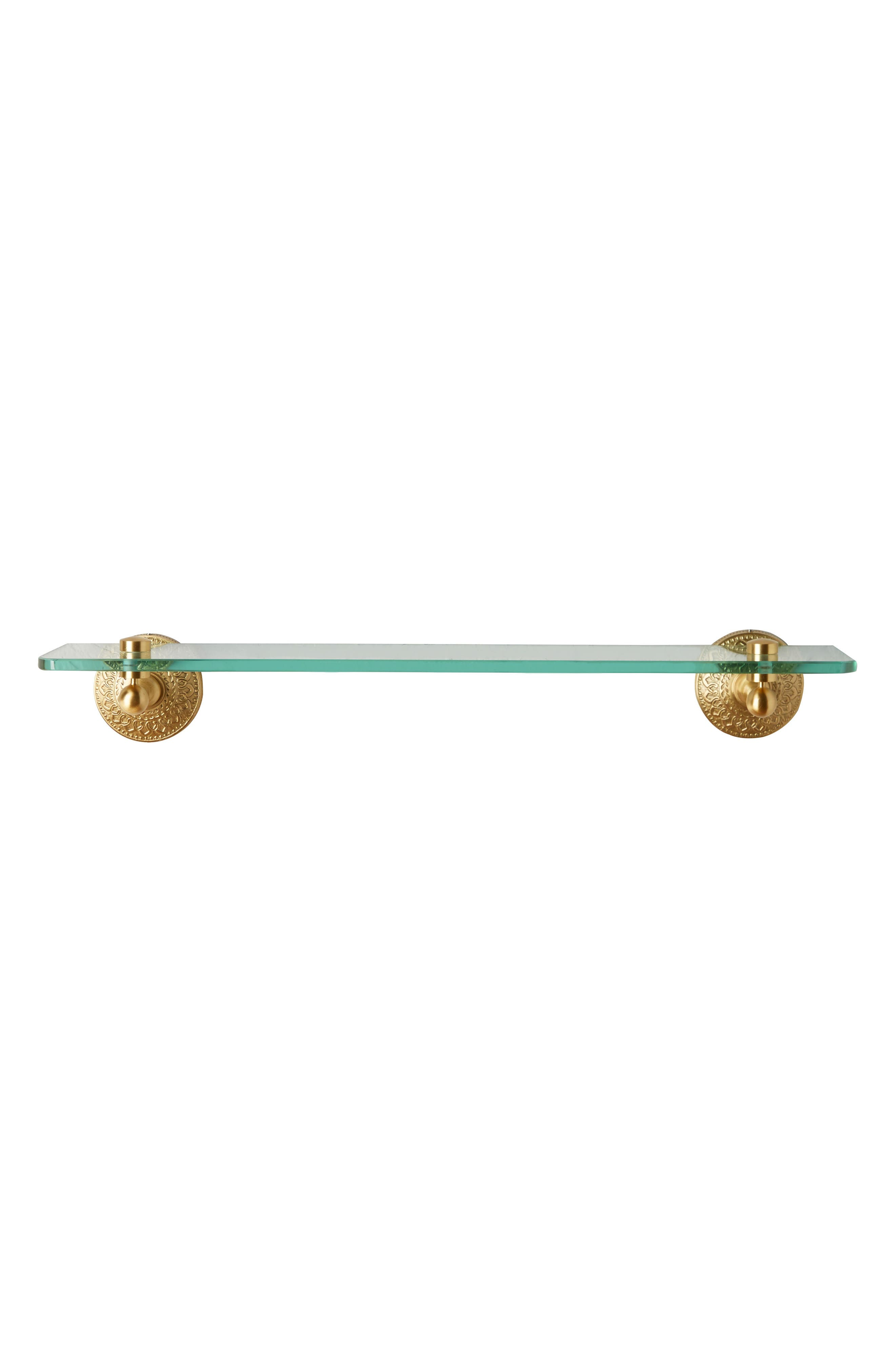 Brass Medallion Shelf,                             Alternate thumbnail 4, color,                             Honey