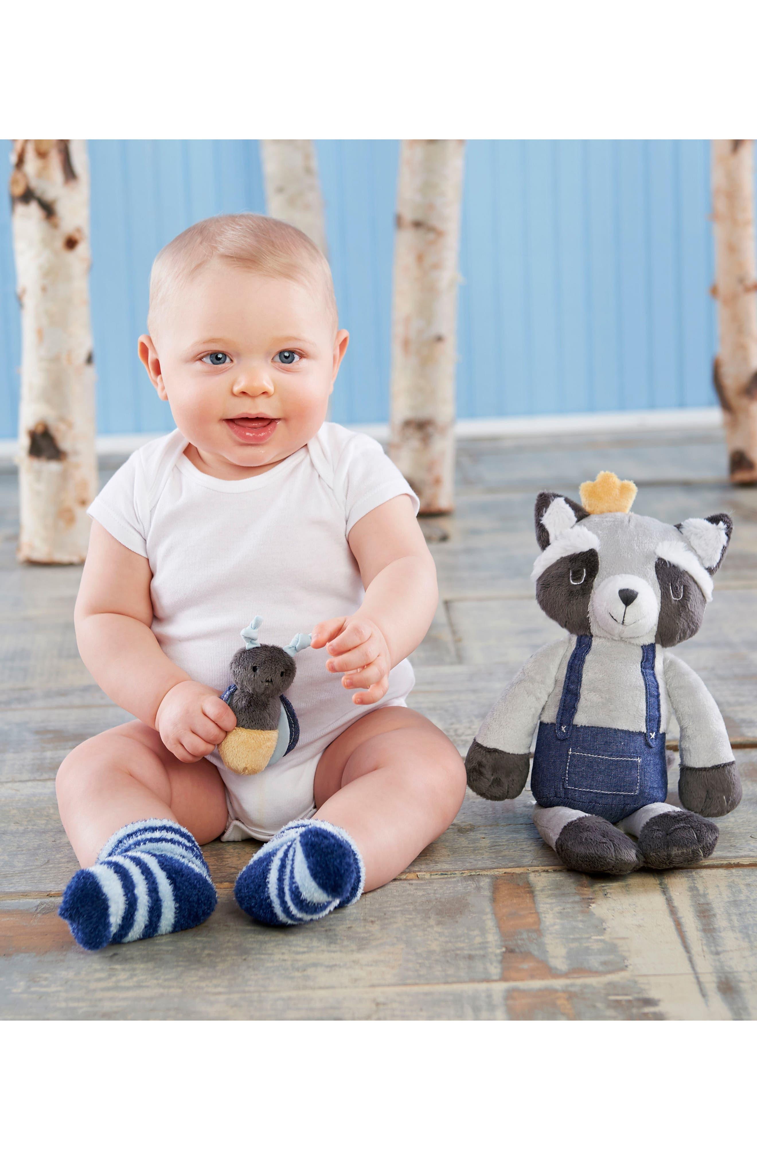 Alternate Image 2  - Baby Aspen Forest Friends Raccoon Plush Robe, Fuzzy Socks, Stuffed Animal & Rattle Set (Baby)