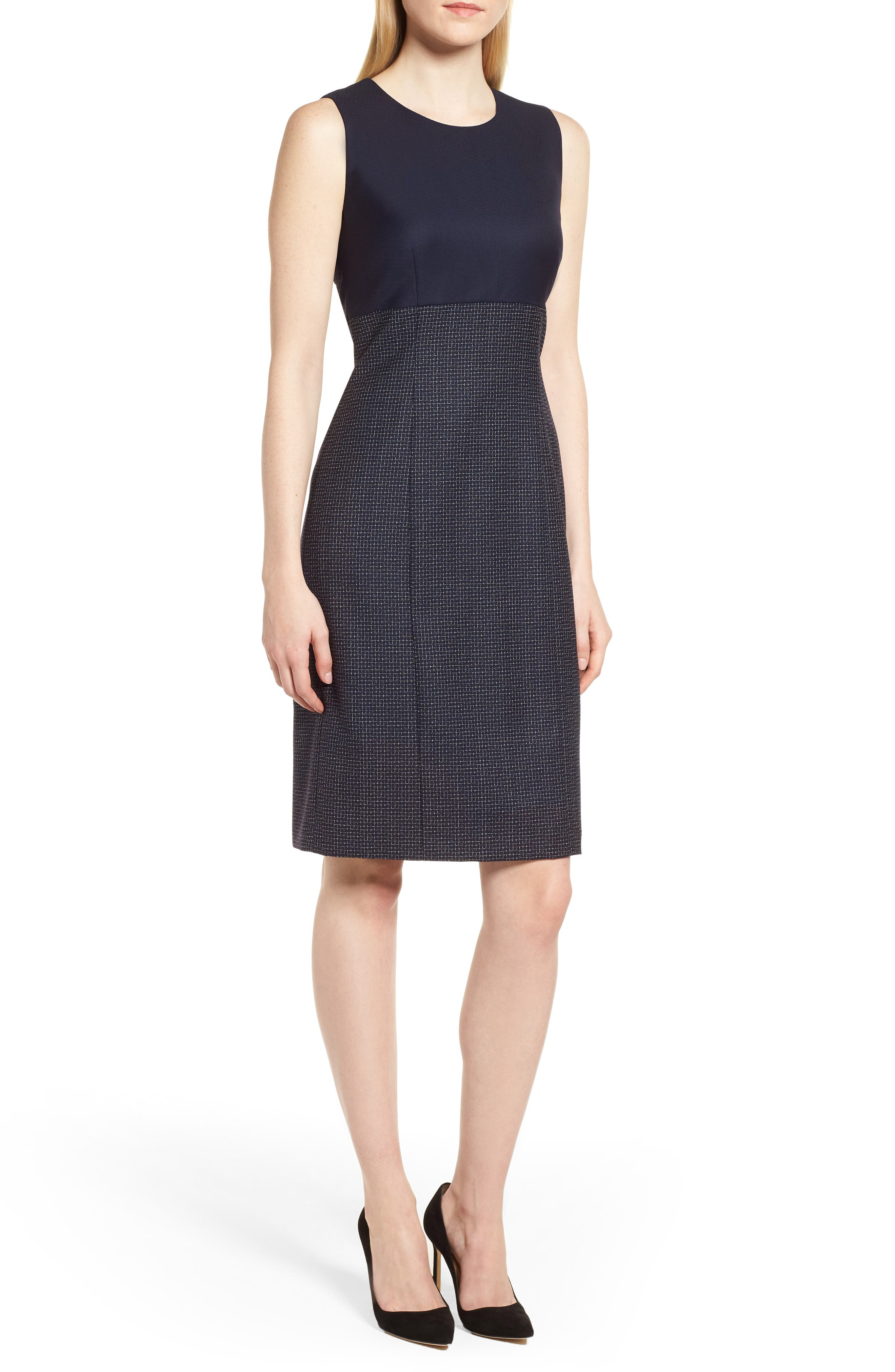 Alternate Image 1 Selected - BOSS Dibena Windowpane Sheath Dress (Regular & Petite)
