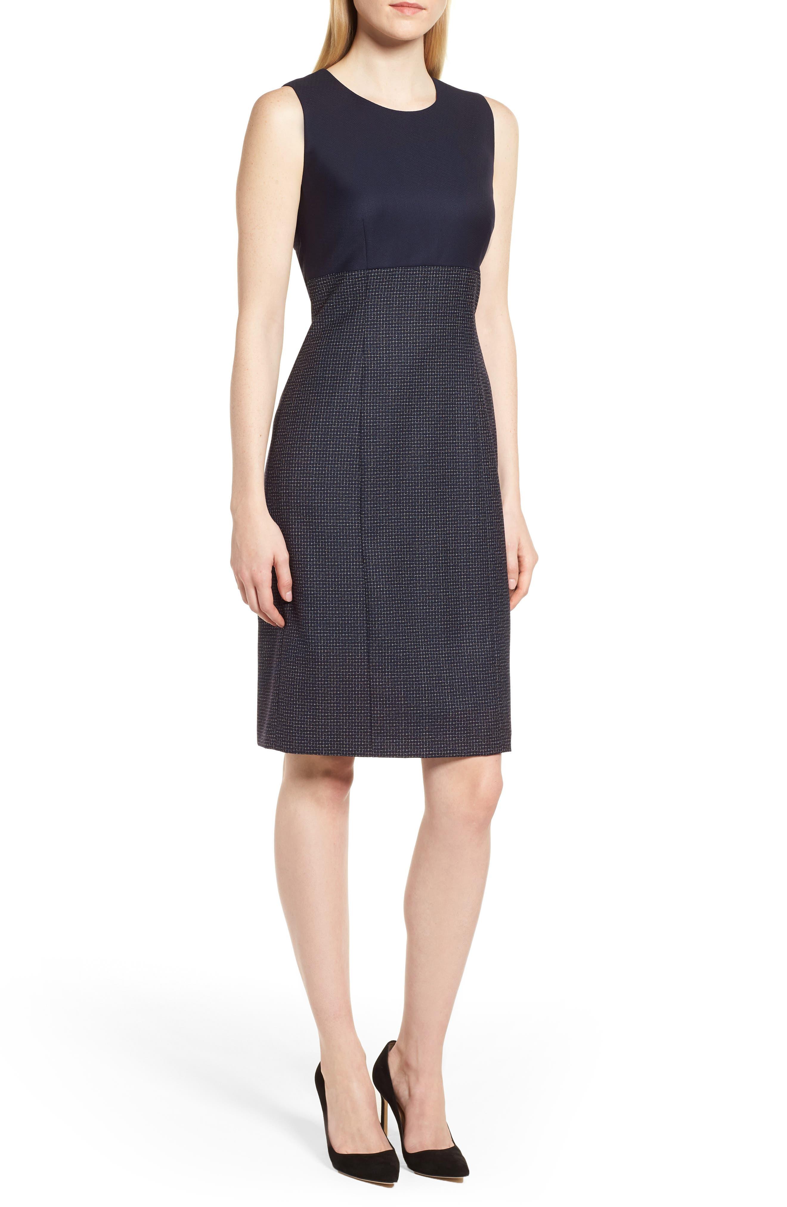 Main Image - BOSS Dibena Windowpane Sheath Dress (Regular & Petite)