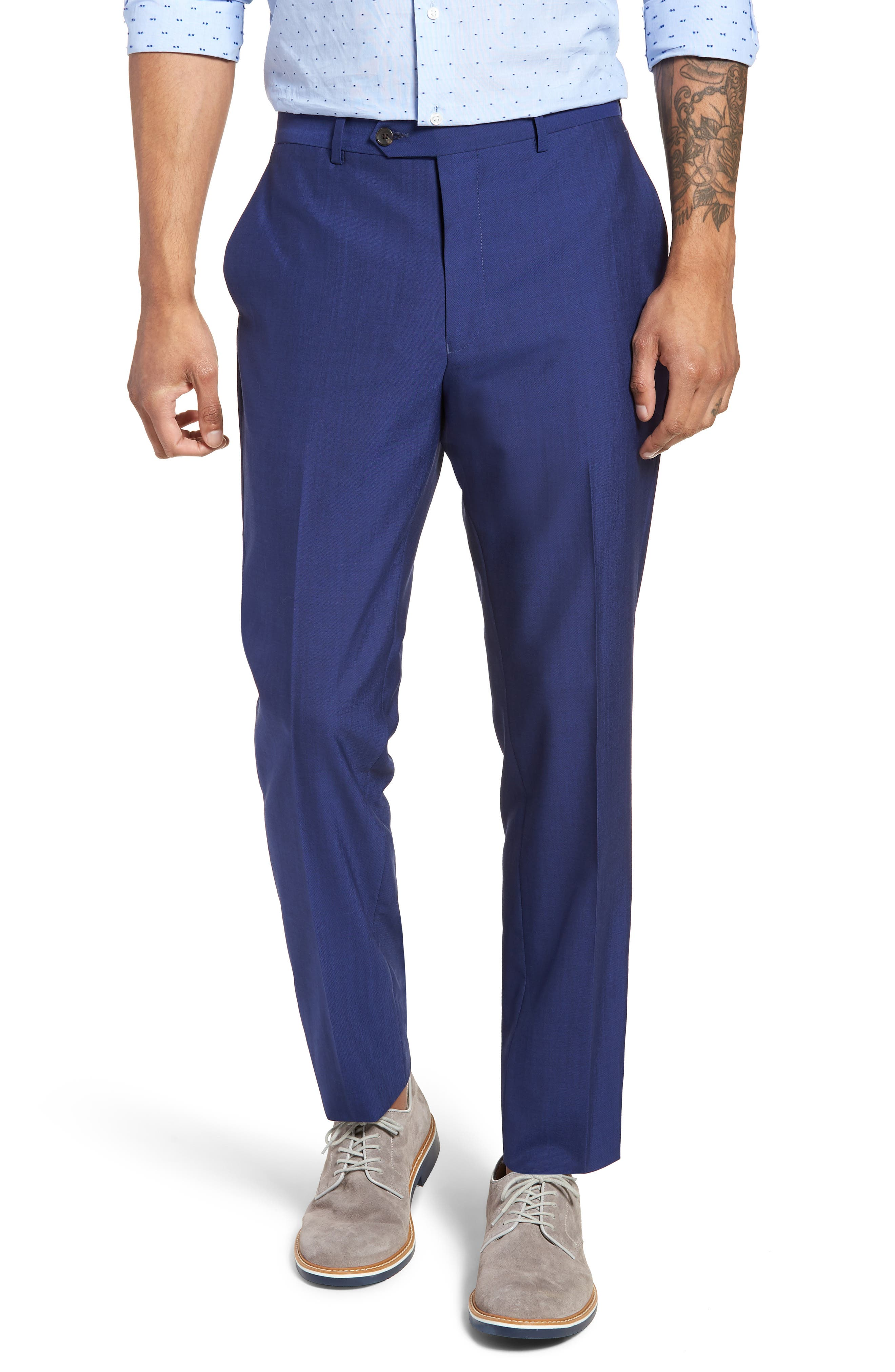 Dagger Flat Front Solid Wool Trousers,                         Main,                         color, High Blue
