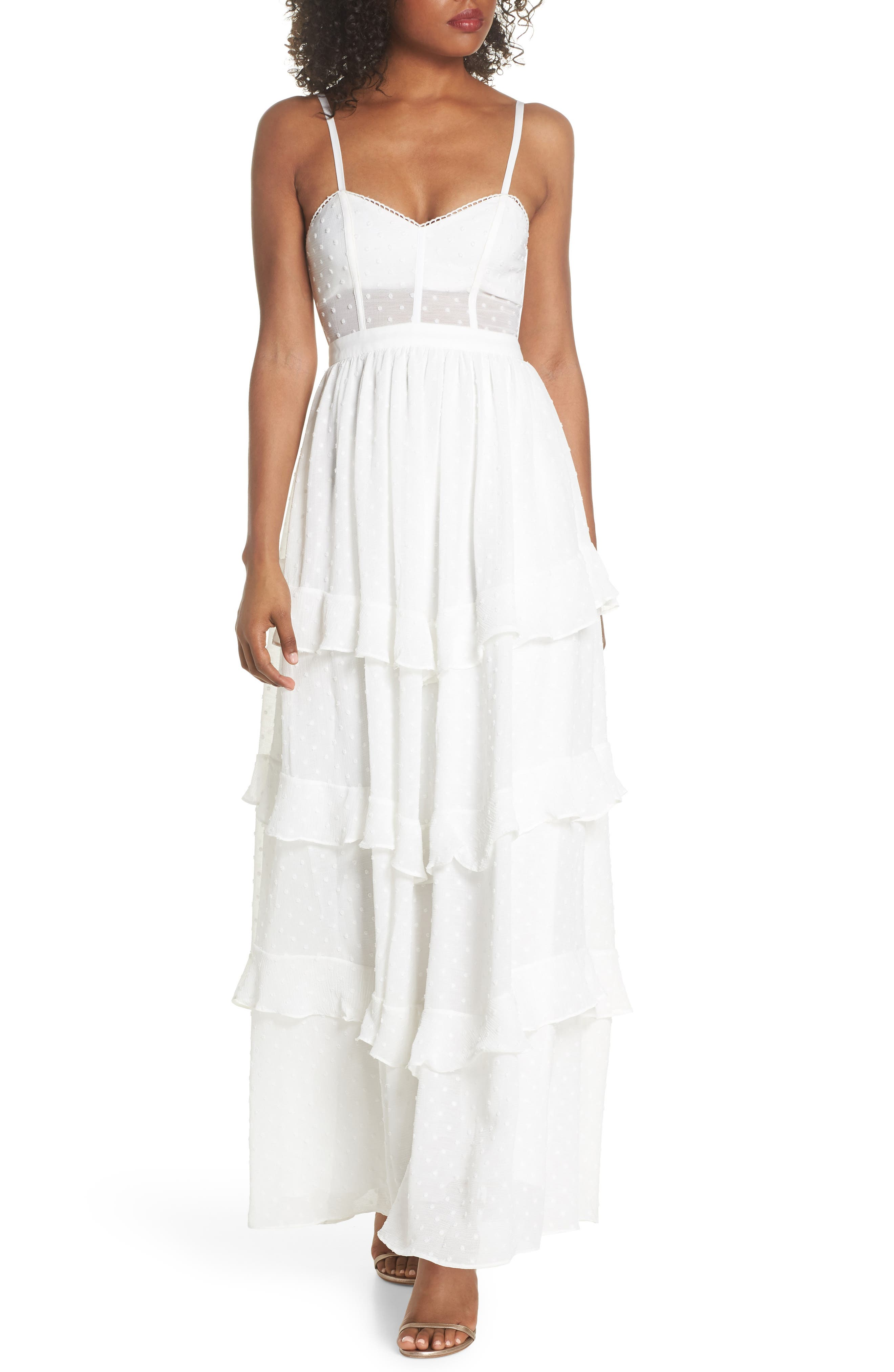 Nancy Tiered Swiss Dot Gown,                         Main,                         color, Ivory