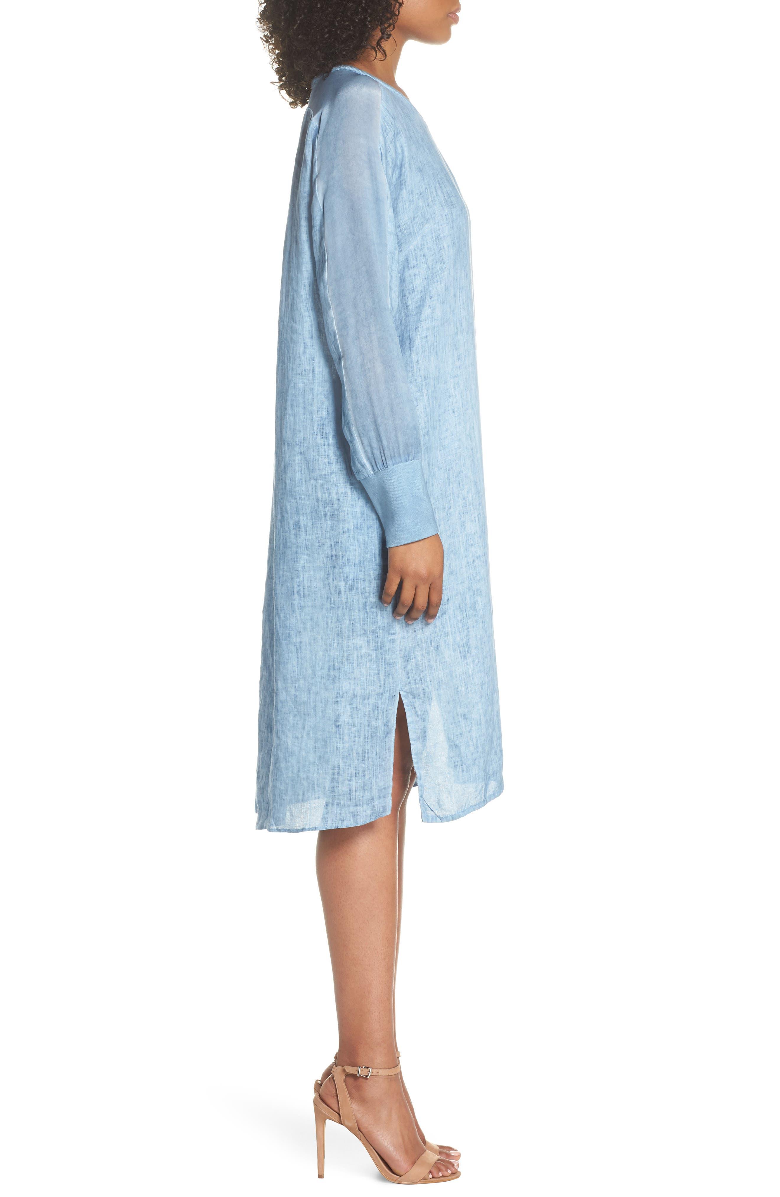 Rata Linen Shift Dress,                             Alternate thumbnail 3, color,                             Blue