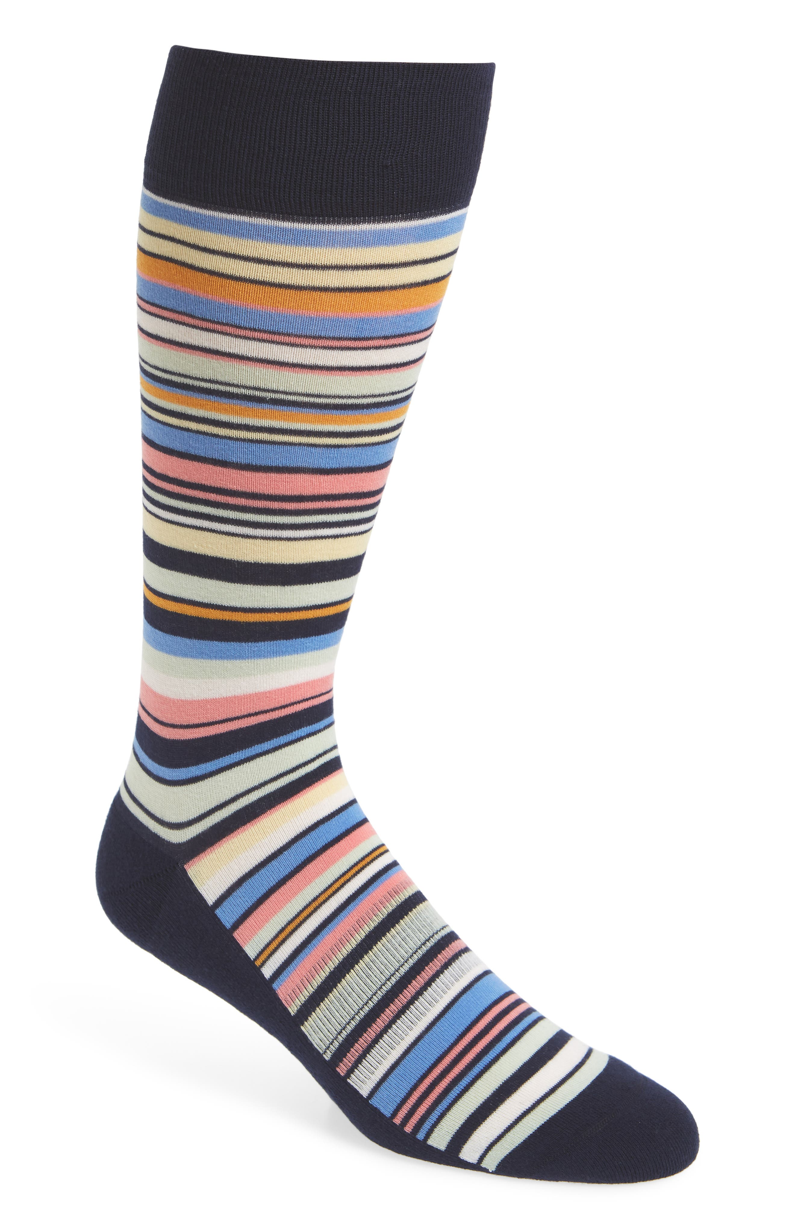 Stripe Socks,                         Main,                         color, Navy/ Pale Yellow