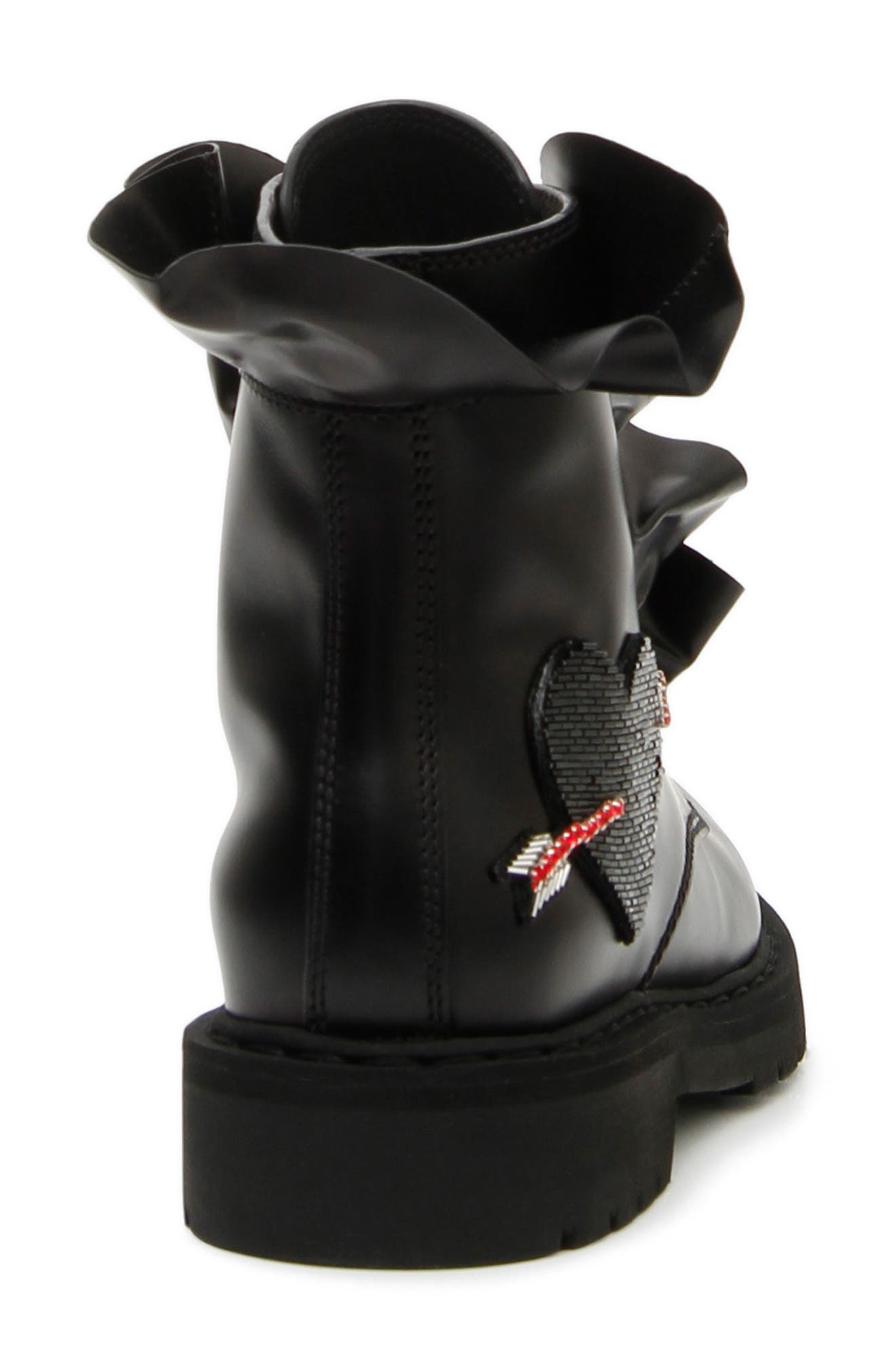 Heart Ruffle Combat Boot,                             Alternate thumbnail 3, color,                             Black