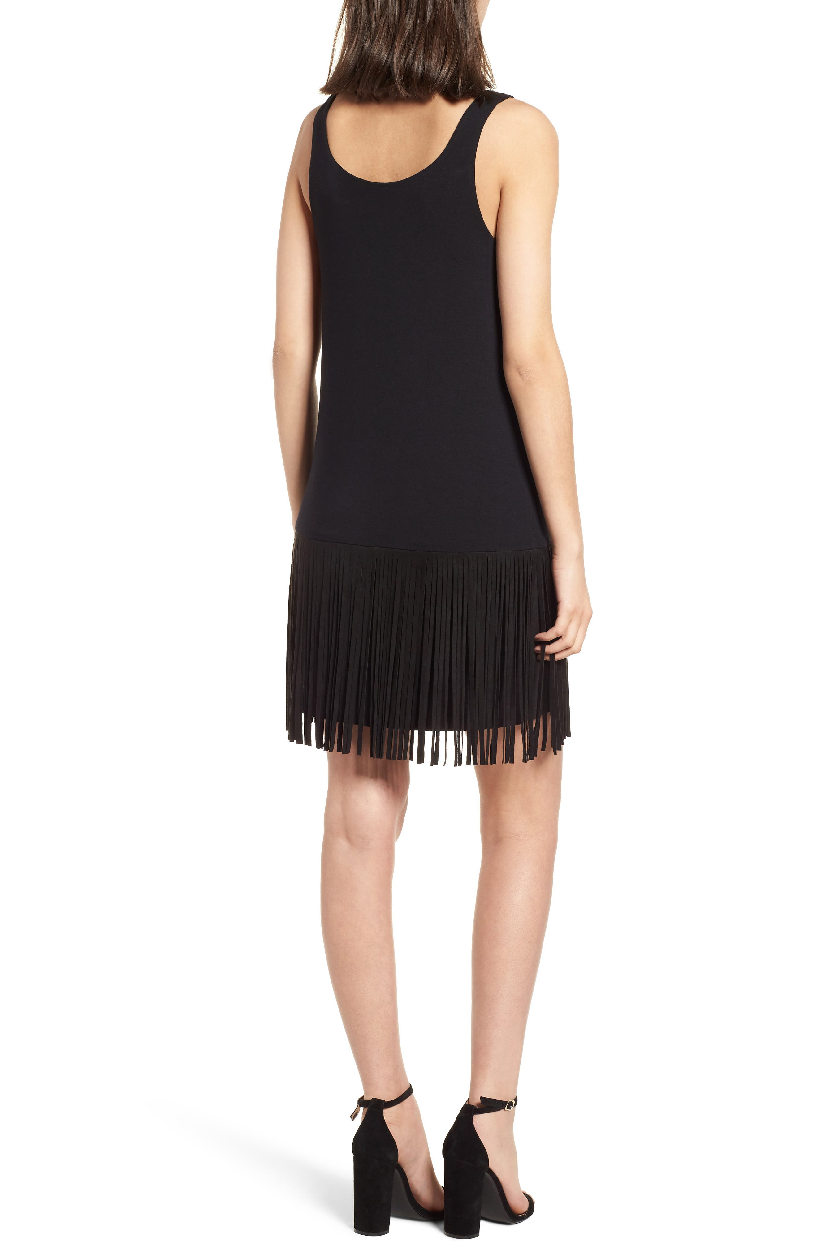 Dead or Alive Fringe Tank Dress,                             Alternate thumbnail 2, color,                             Black