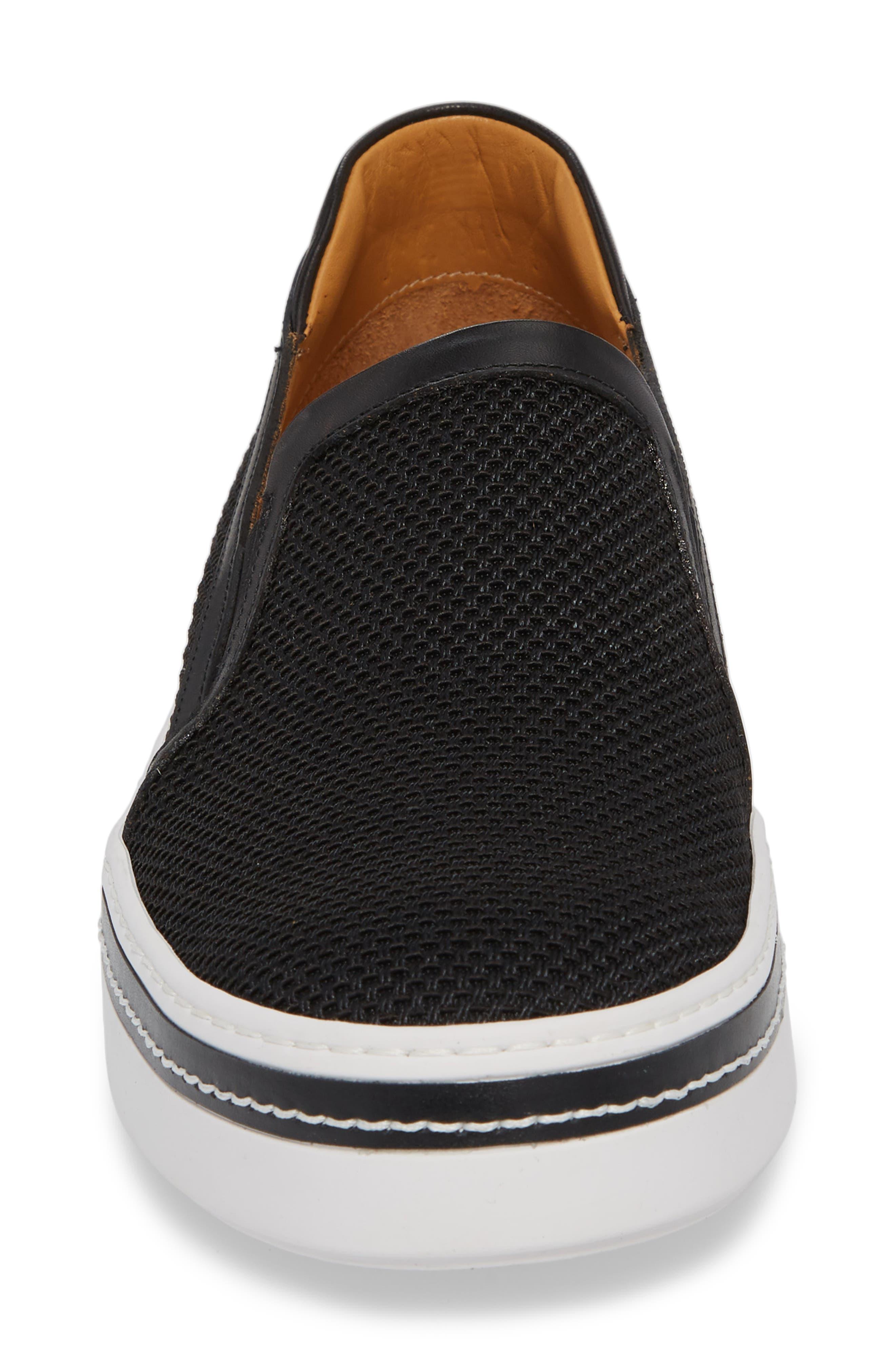 Sal Mesh Slip-On Sneaker,                             Alternate thumbnail 4, color,                             Black Mesh