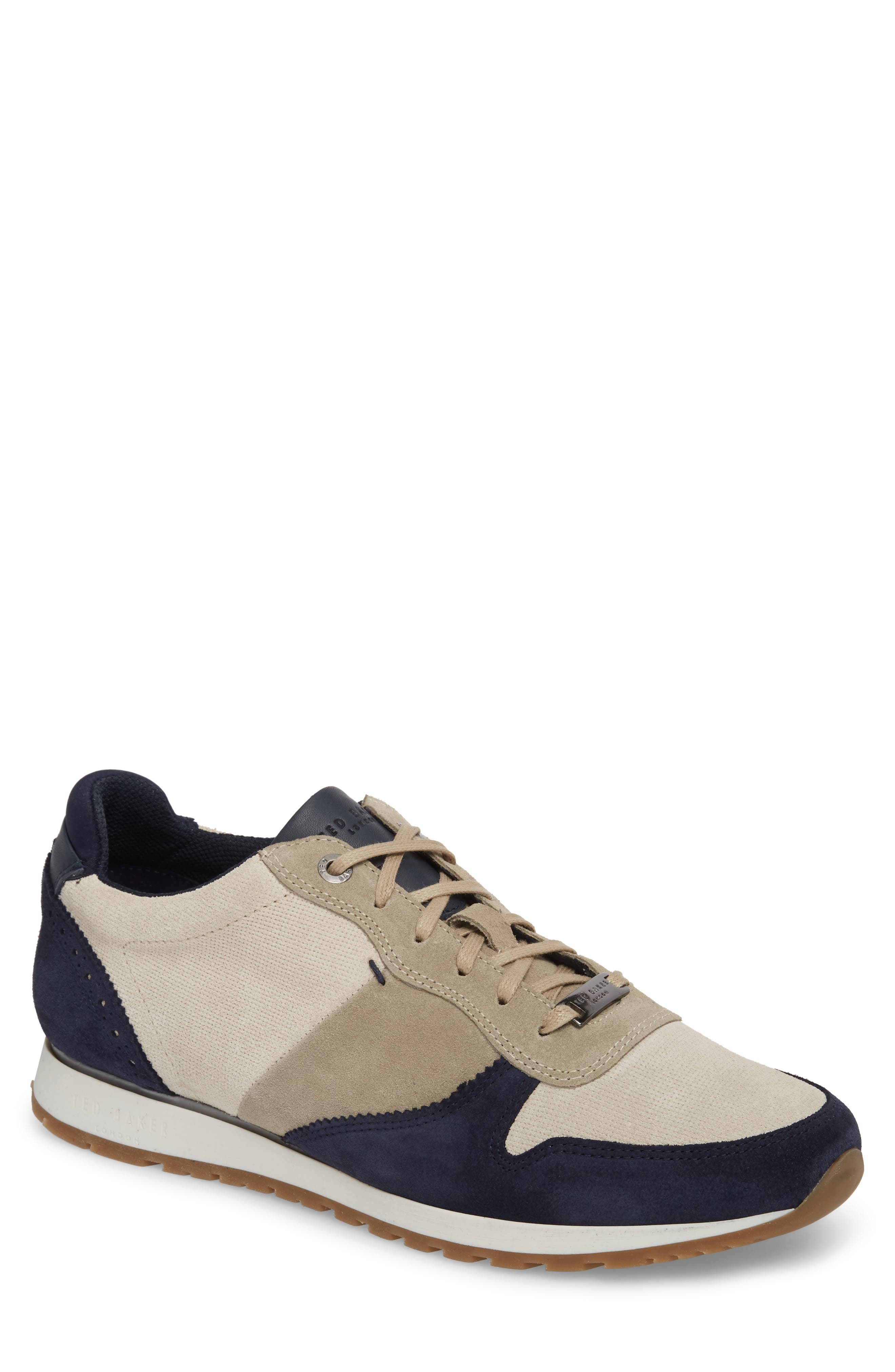 Shindls Low Top Sneaker,                         Main,                         color, Dark Blue/ Grey Leather/ Suede