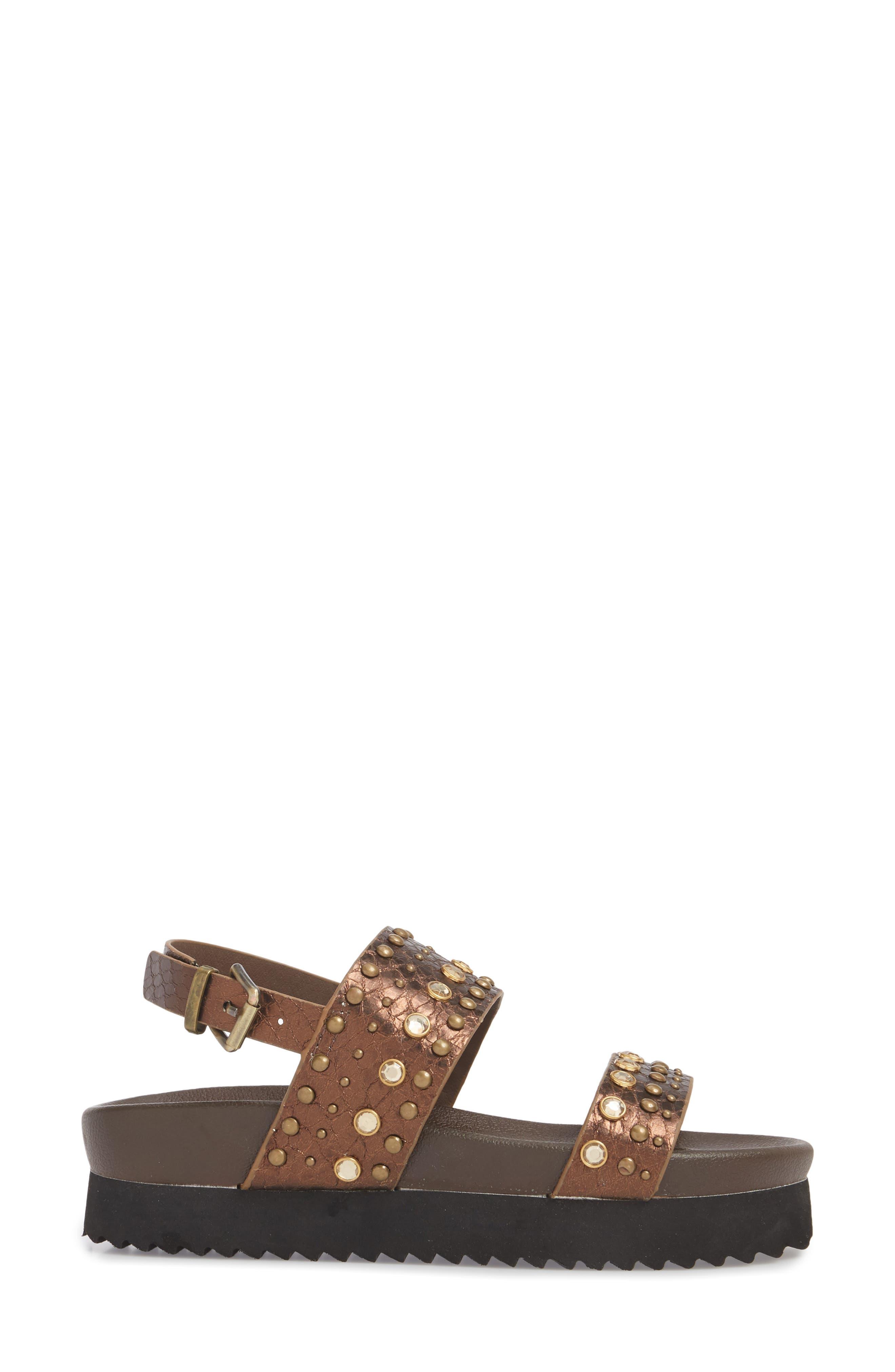 Milan Platform Sandal,                             Alternate thumbnail 3, color,                             Bronze