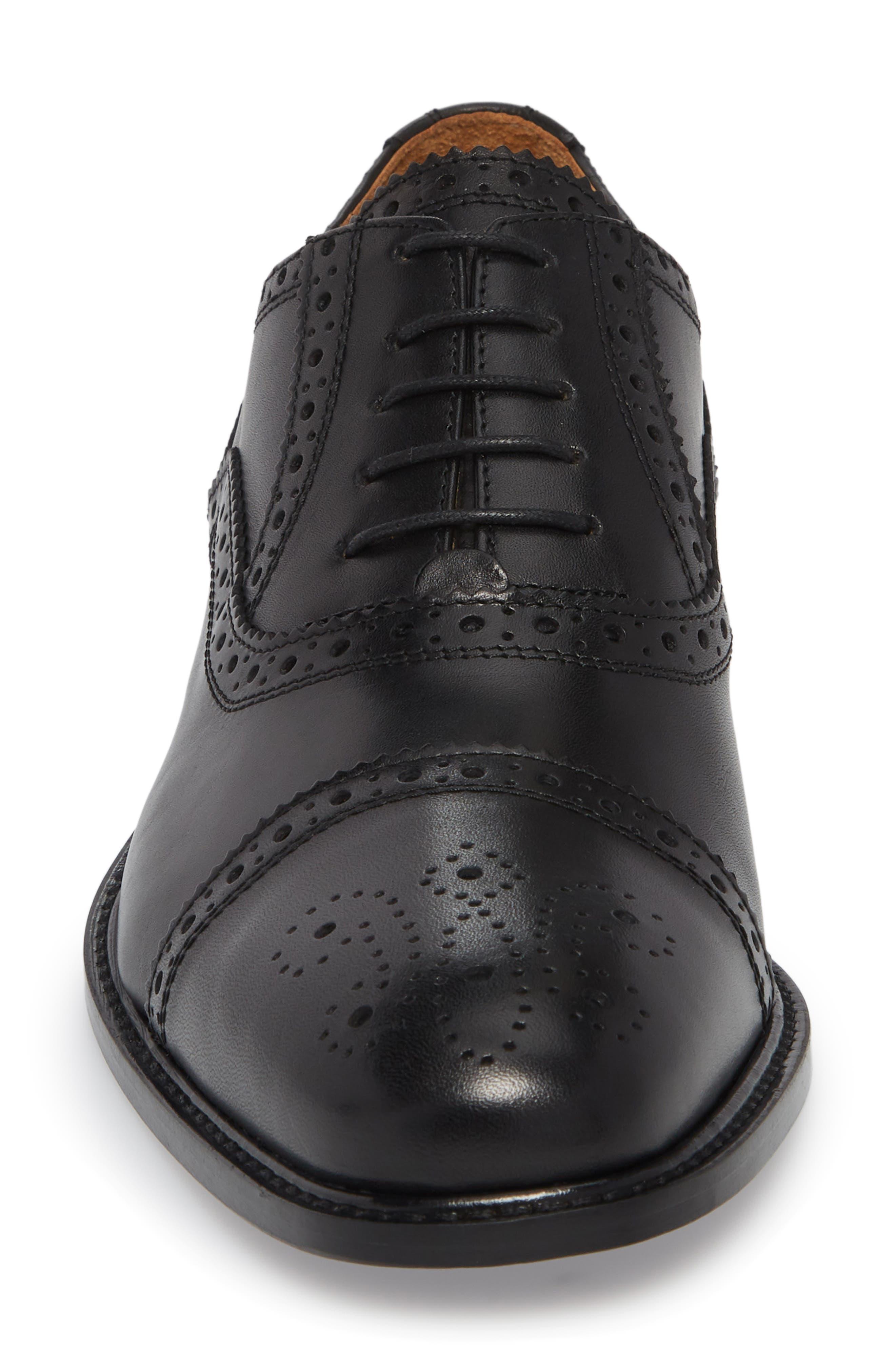 Index Cap Toe Oxford,                             Alternate thumbnail 4, color,                             Black Leather