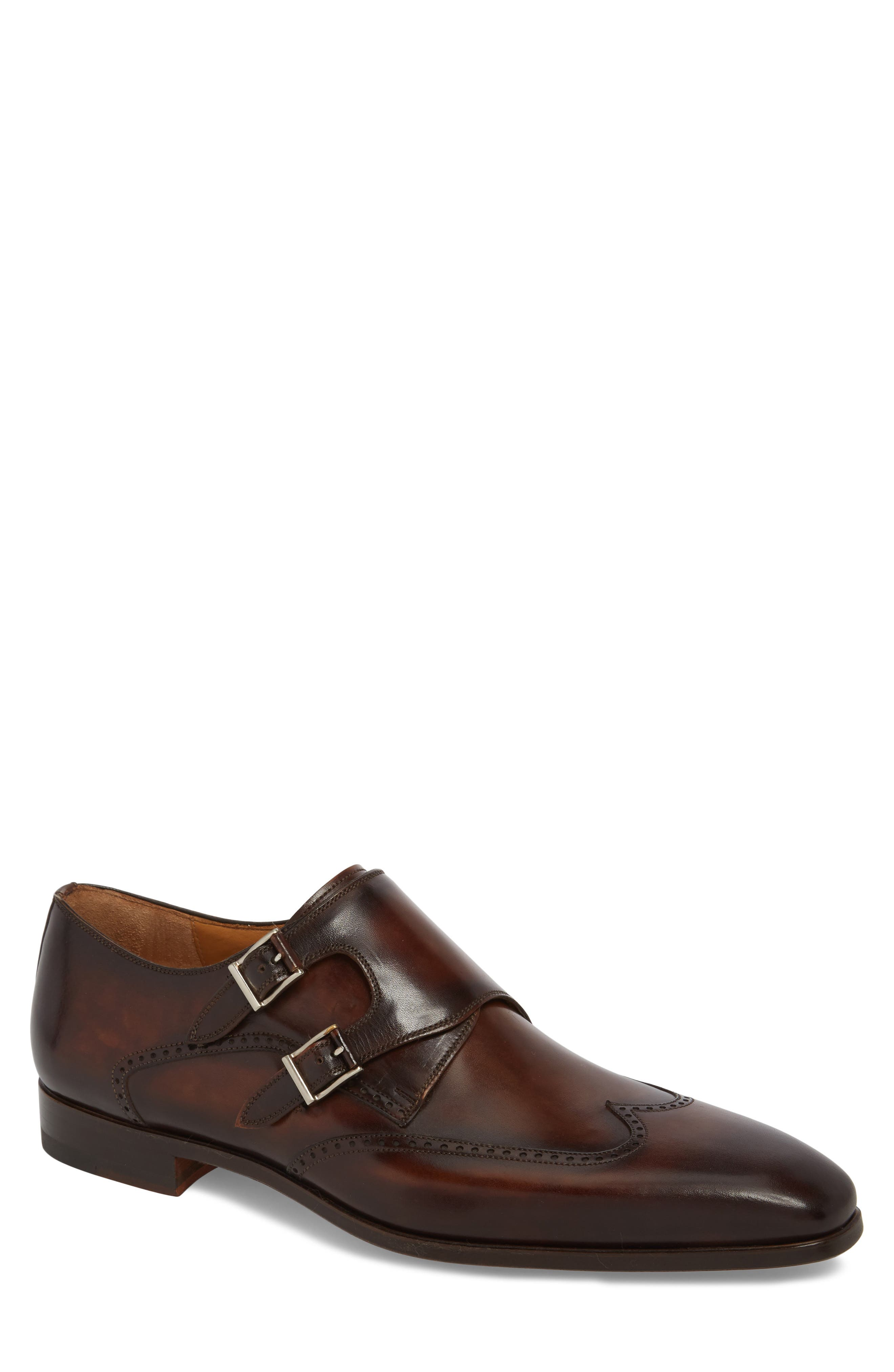 Dixon Wingtip Double Strap Monk Shoe,                         Main,                         color, Tobacco Leather