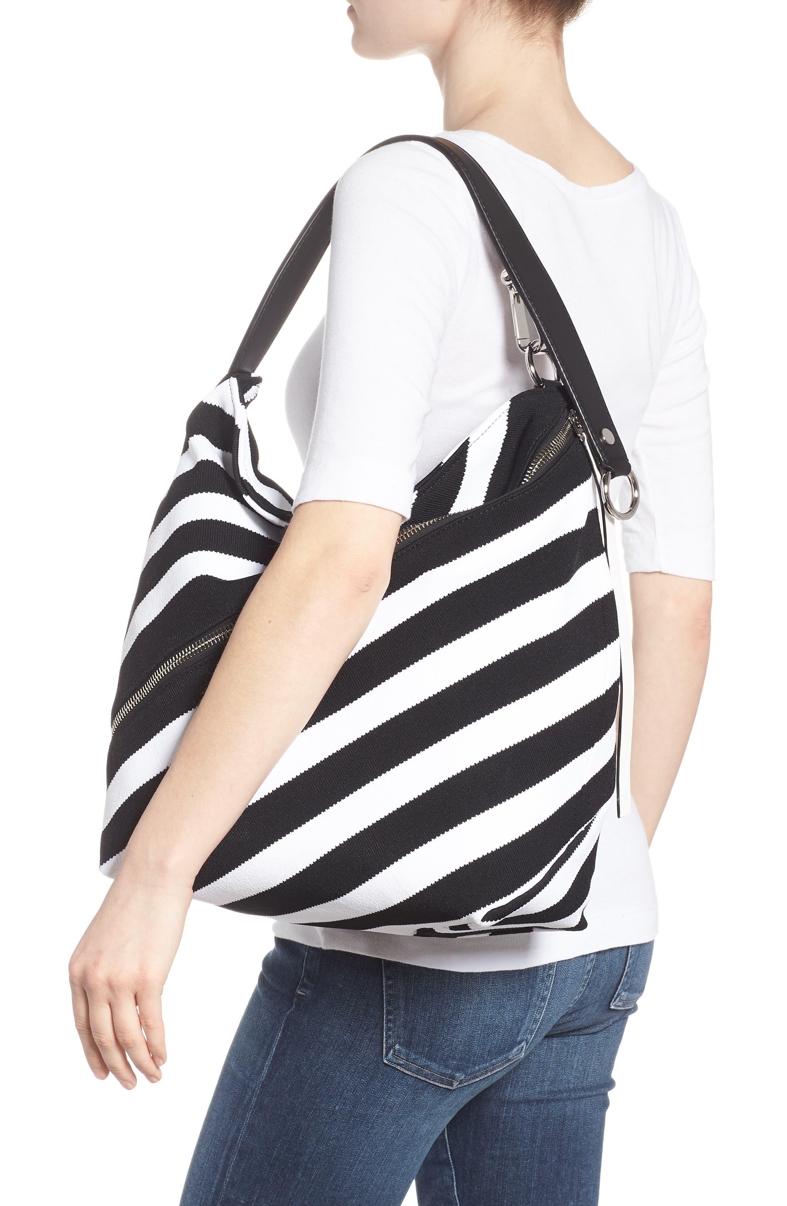 Medium Asymmetric Zip Stripe Textile Hobo,                             Alternate thumbnail 2, color,                             Black/ Ecru