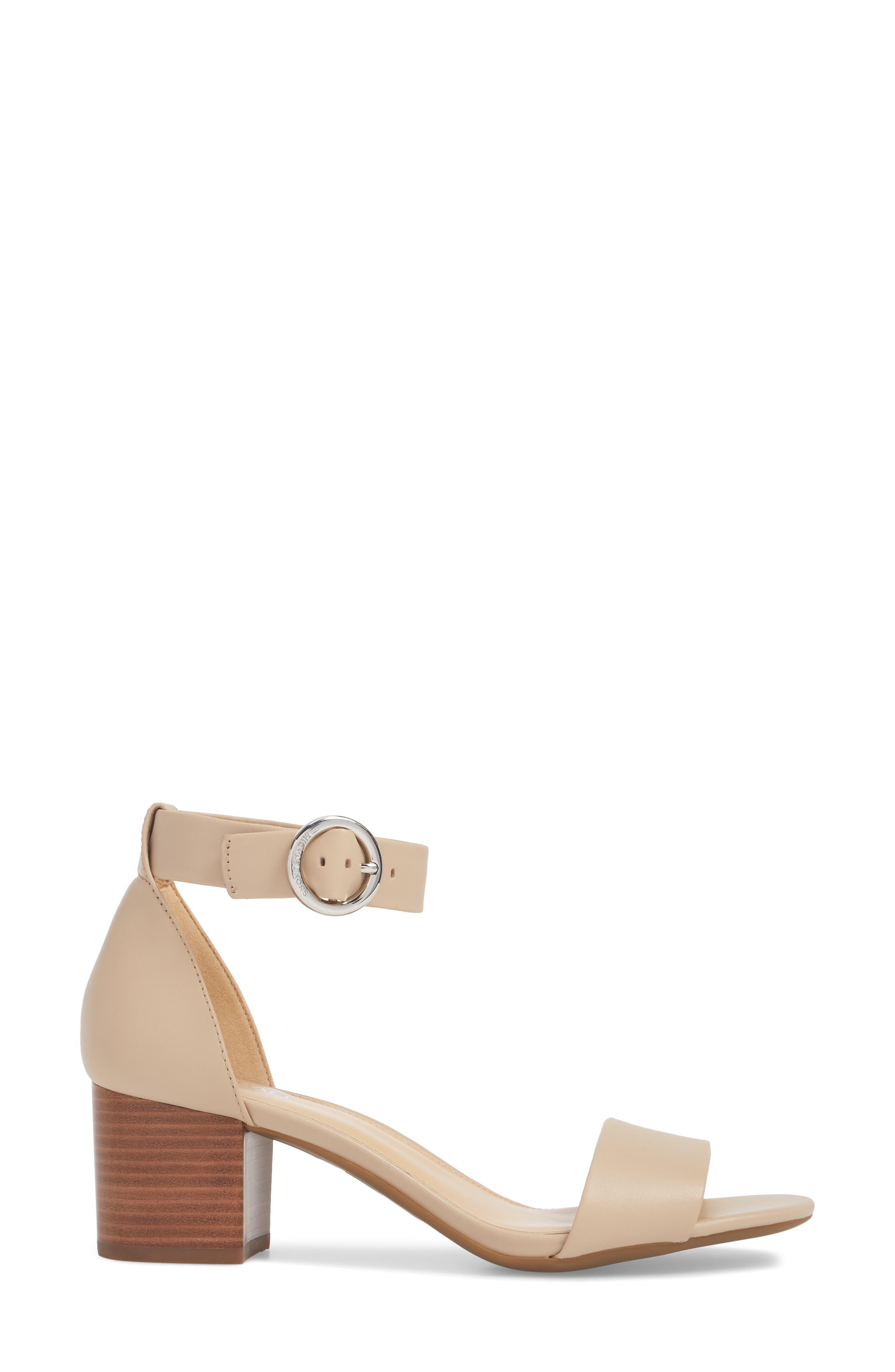 Lena Block Heel Sandal,                             Alternate thumbnail 3, color,                             Bisque